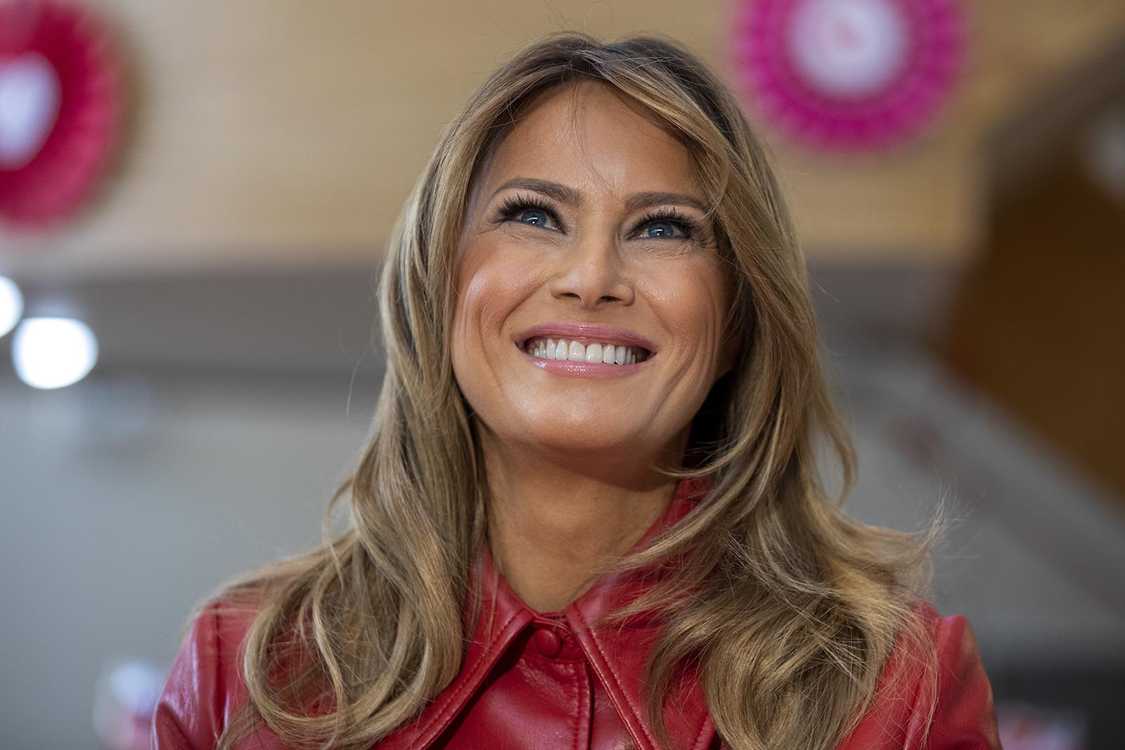 First Lady Melania Trump visits the Children's Inn at National Institute of Health on Valentine's Day on February 14 in Bethesda, Maryland.