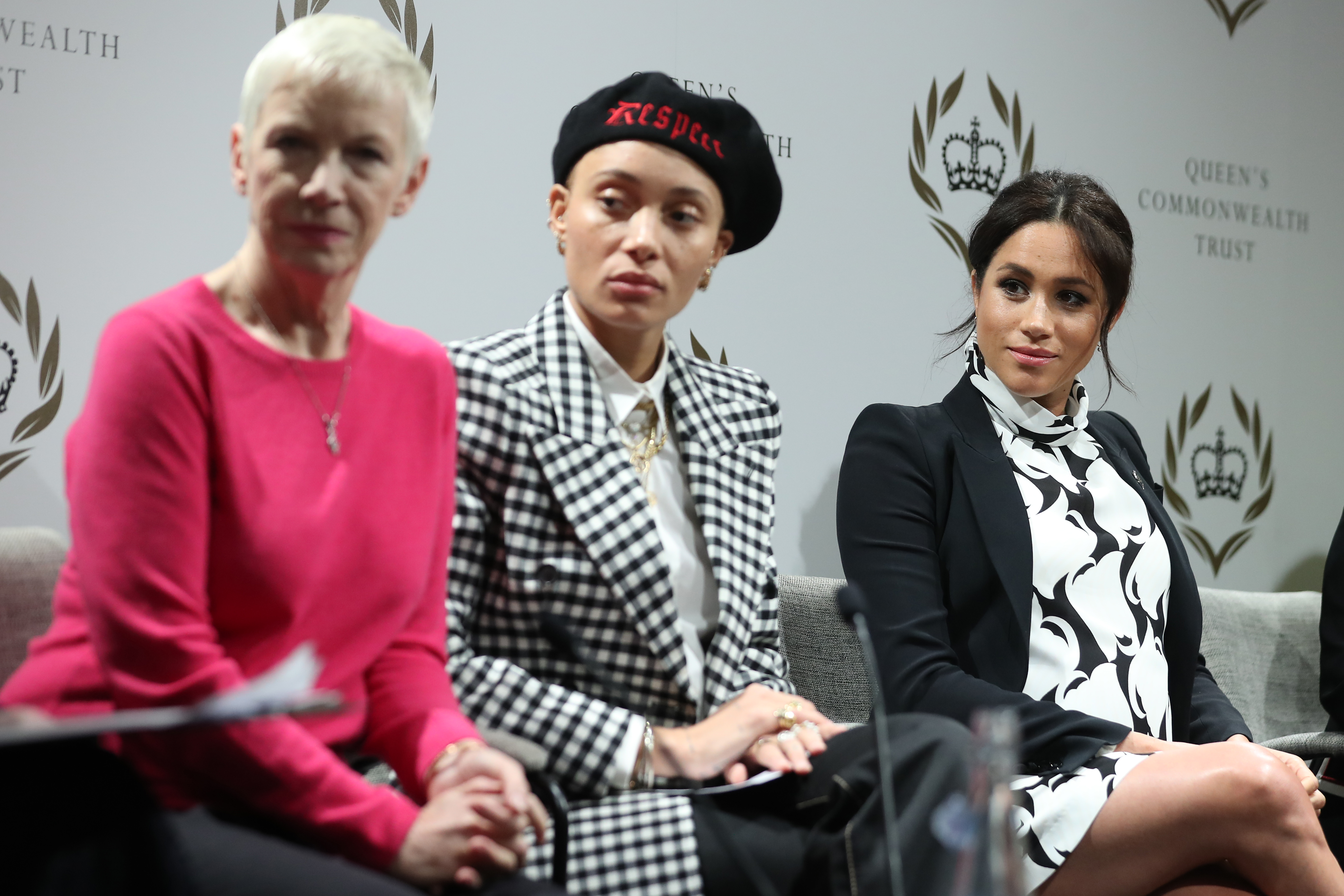 British singer Annie Lennox, British model Adwoa Aboah and Meghan, Duchess of Sussex, attend a panel discussion to mark International Women's Day in London, England.