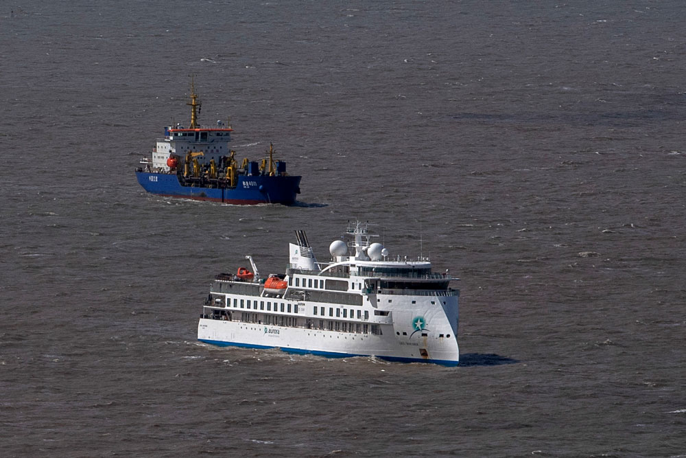 Aerial view of Australian cruise ship Greg Mortimer off the port of Montevideo on April 7.