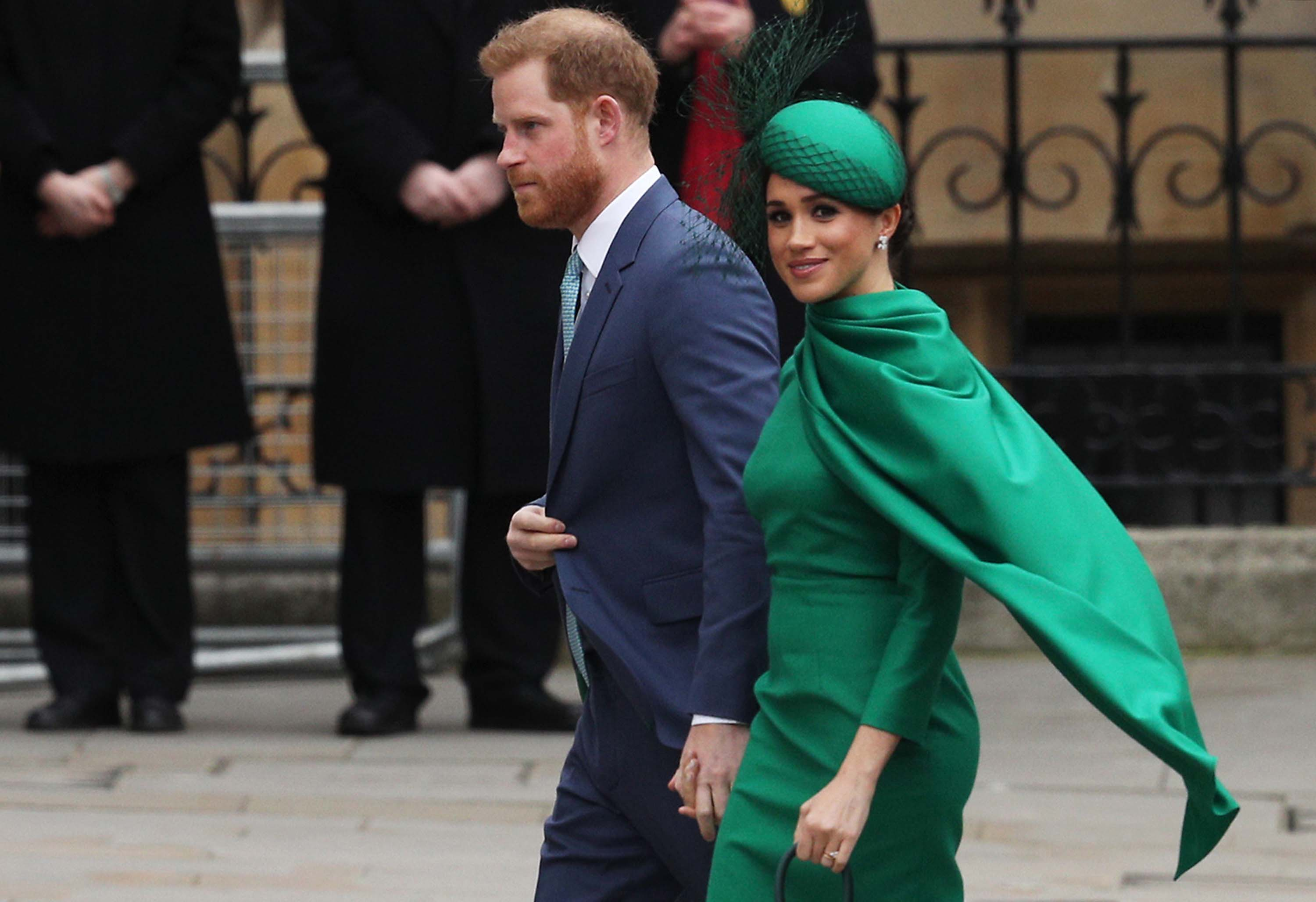 Harry and Meghan pictured as they arrive to attend the annual Commonwealth Day Service at Westminster Abbey in London on March 9, 2020.
