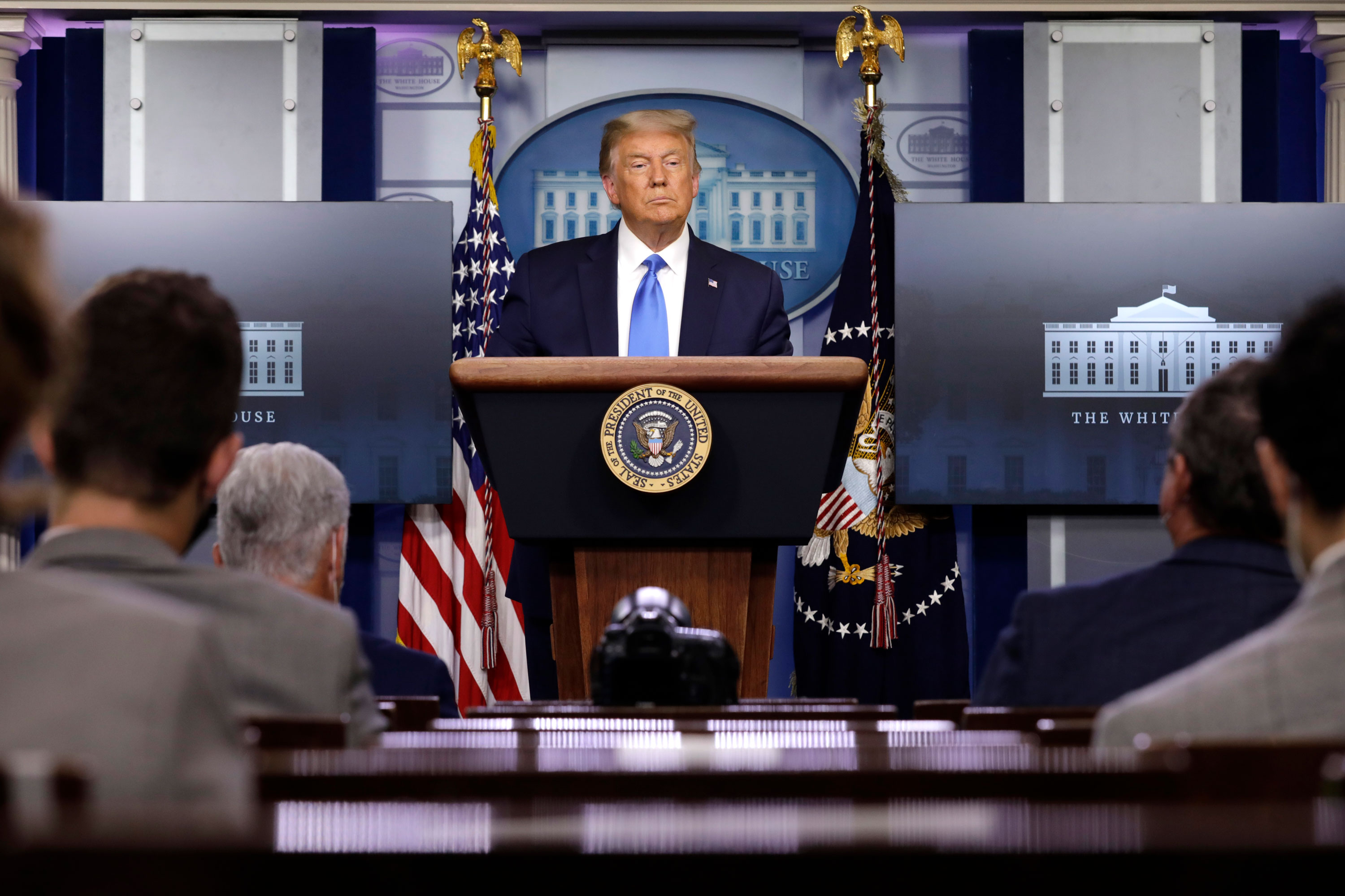 President Donald Trump holds a news conference at the White House on September 23.