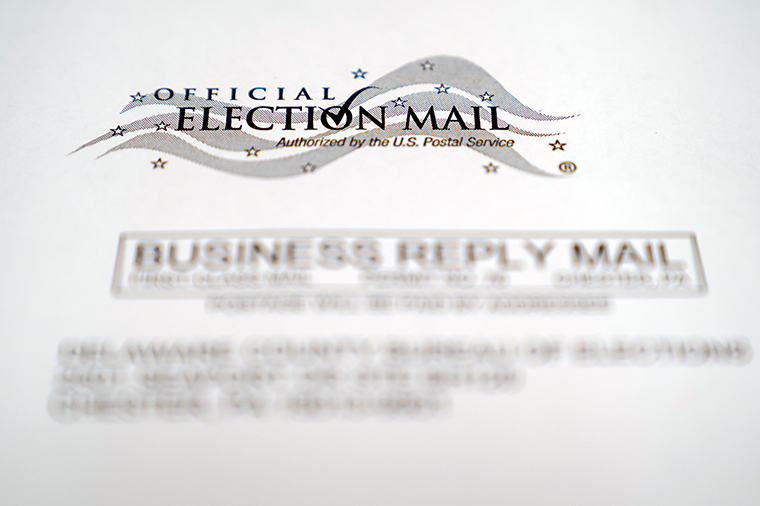An envelope of a Pennsylvania official mail-in ballot for the 2020 general election in Marple Township, Pennsylvania, on October 13.