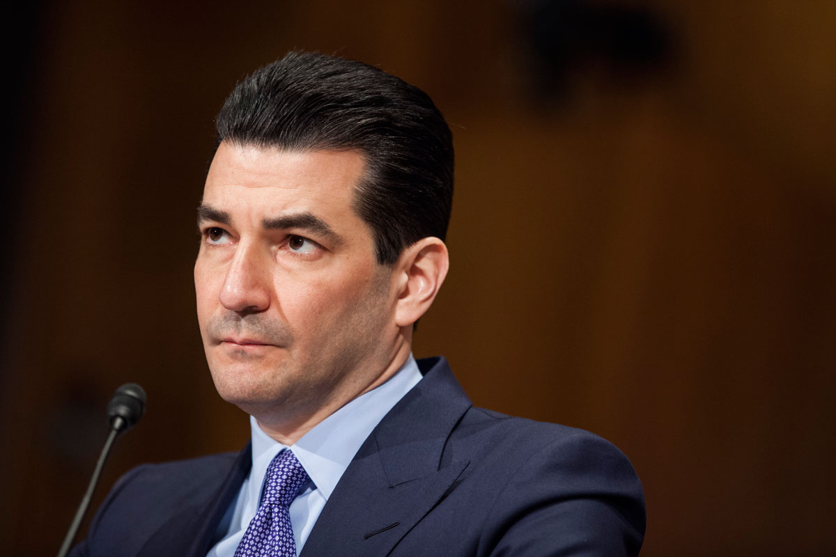 In this April 5, 2017 file photo, former FDA Commissioner Scott Gottlieb testifies during a Senate Health, Education, Labor and Pensions Committee hearing at on Capitol Hill in Washington, D.C.