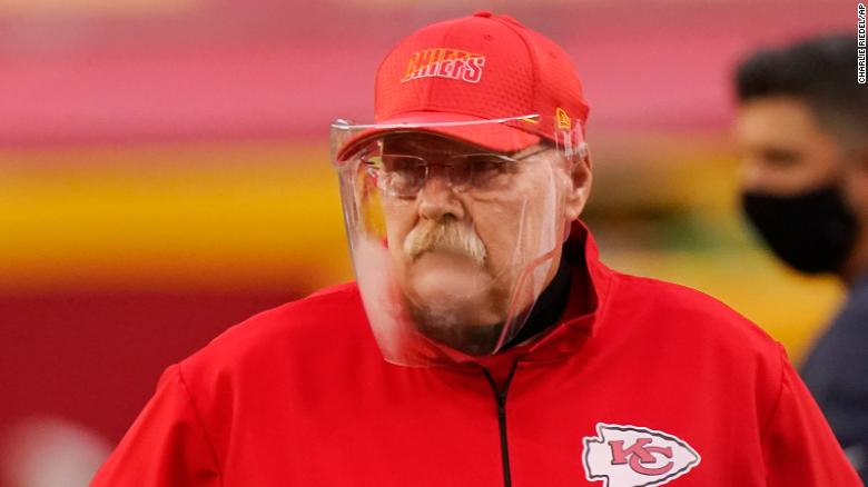 Face shields such as the one Chiefs coach Andy Reid wore on opening night could be a regular sight on sidelines this season.