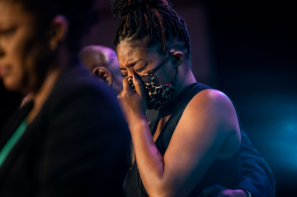 Actress Tiffany Haddish cries at a memorial service for George Floyd at North Central University on June 4 in Minneapolis, Minnesota.