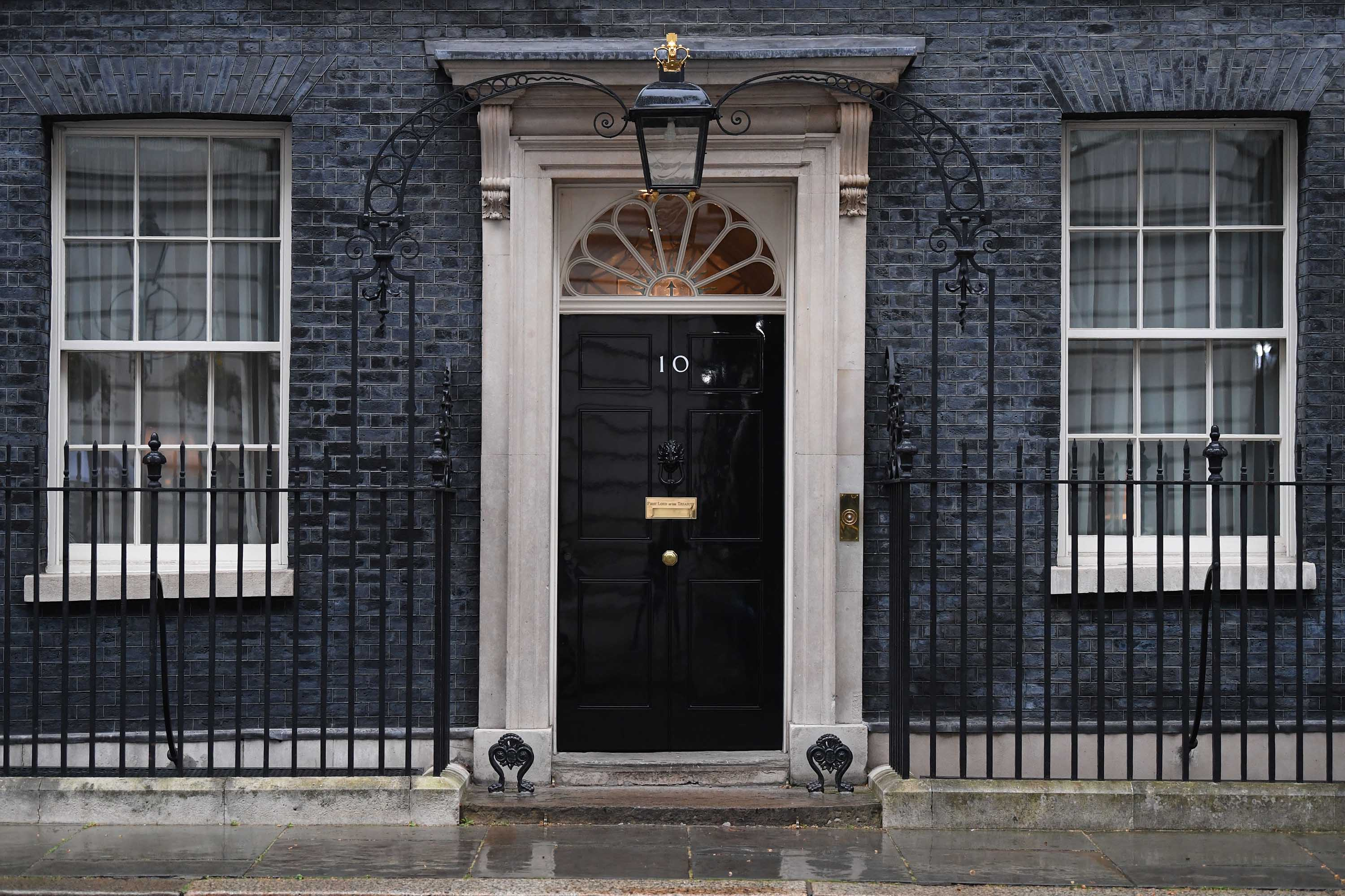 The front door of 10 Downing Street is pictured in London on April 6, after British Prime Minister Boris Johnson spent the night in hospital.
