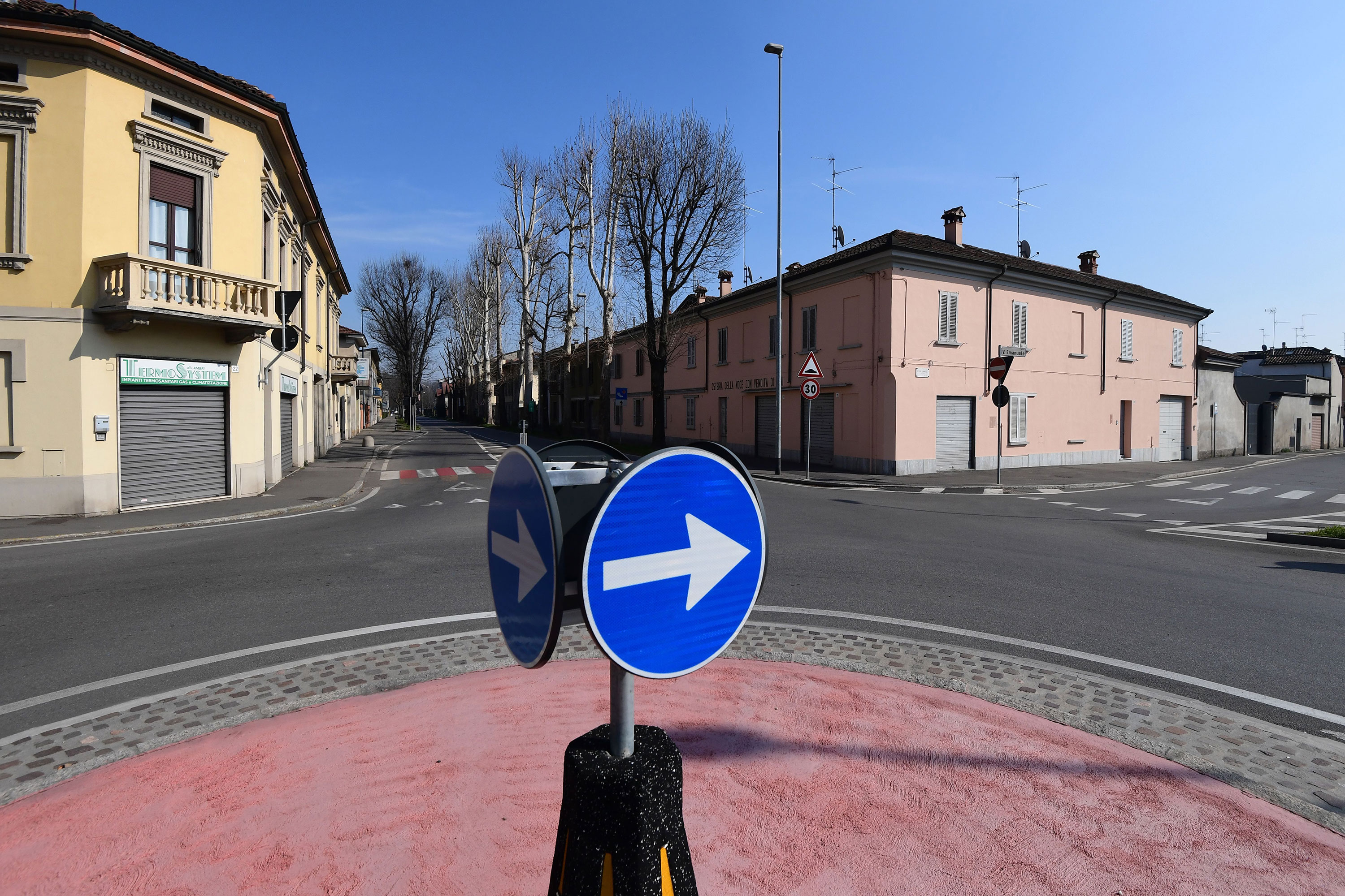 Deserted streets are pictured in Codogno, Italy, on February 22.