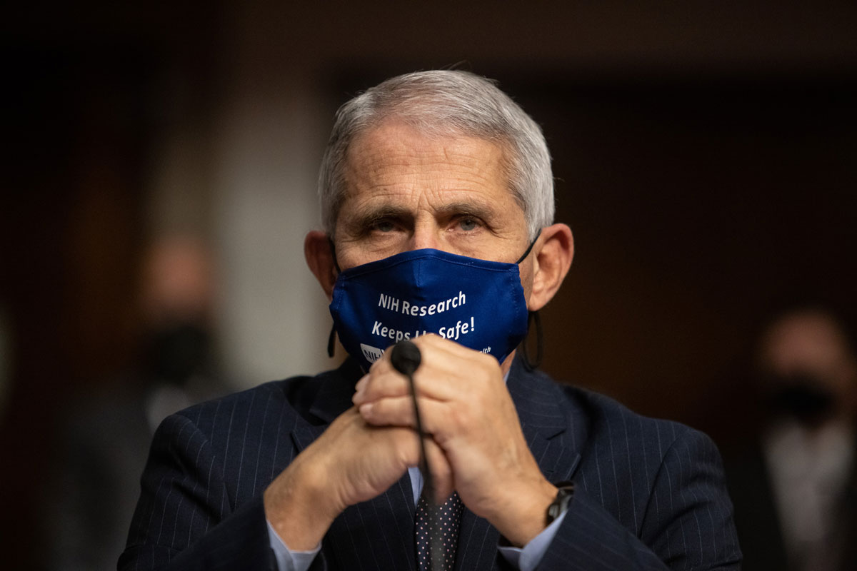 Dr. Anthony Fauci looks on before testifying at a Senate Health, Education, and Labor and Pensions Committee on Capitol Hill, on September 23.