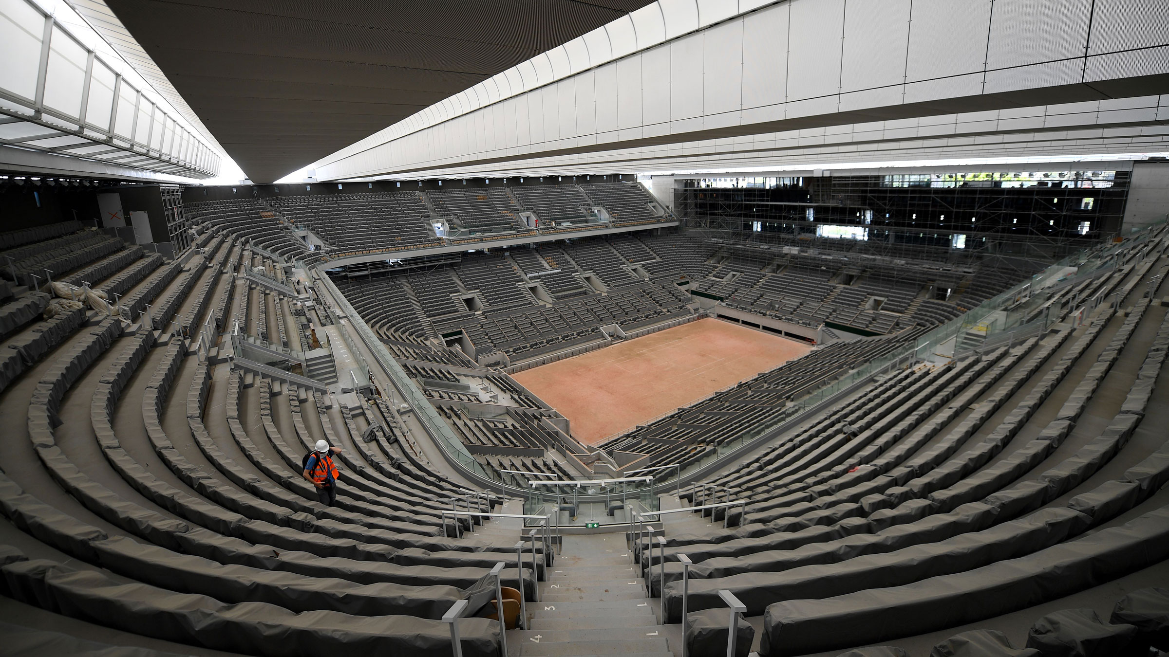 Court Philippe Chatrier, seen here in May, just got a new retractable roof ahead of the French Open.