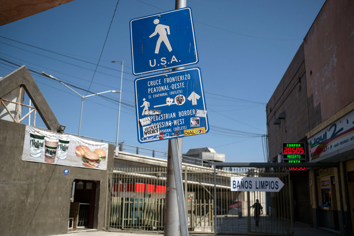 A sign indicating a pedestrian crossing from Tijuana, Mexico to the United States is pictured on September 1.