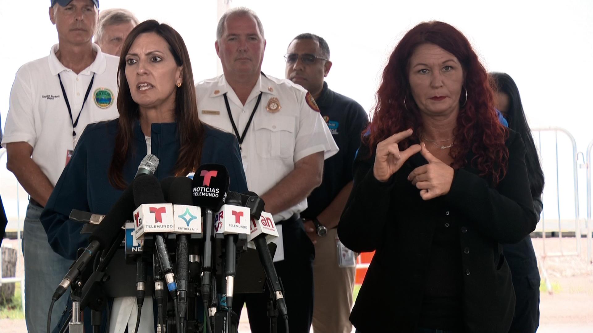 Florida Lt. Gov. Jeanette Nuñez, left, speaks during a press conference in Surfside, Florida, on July 7.