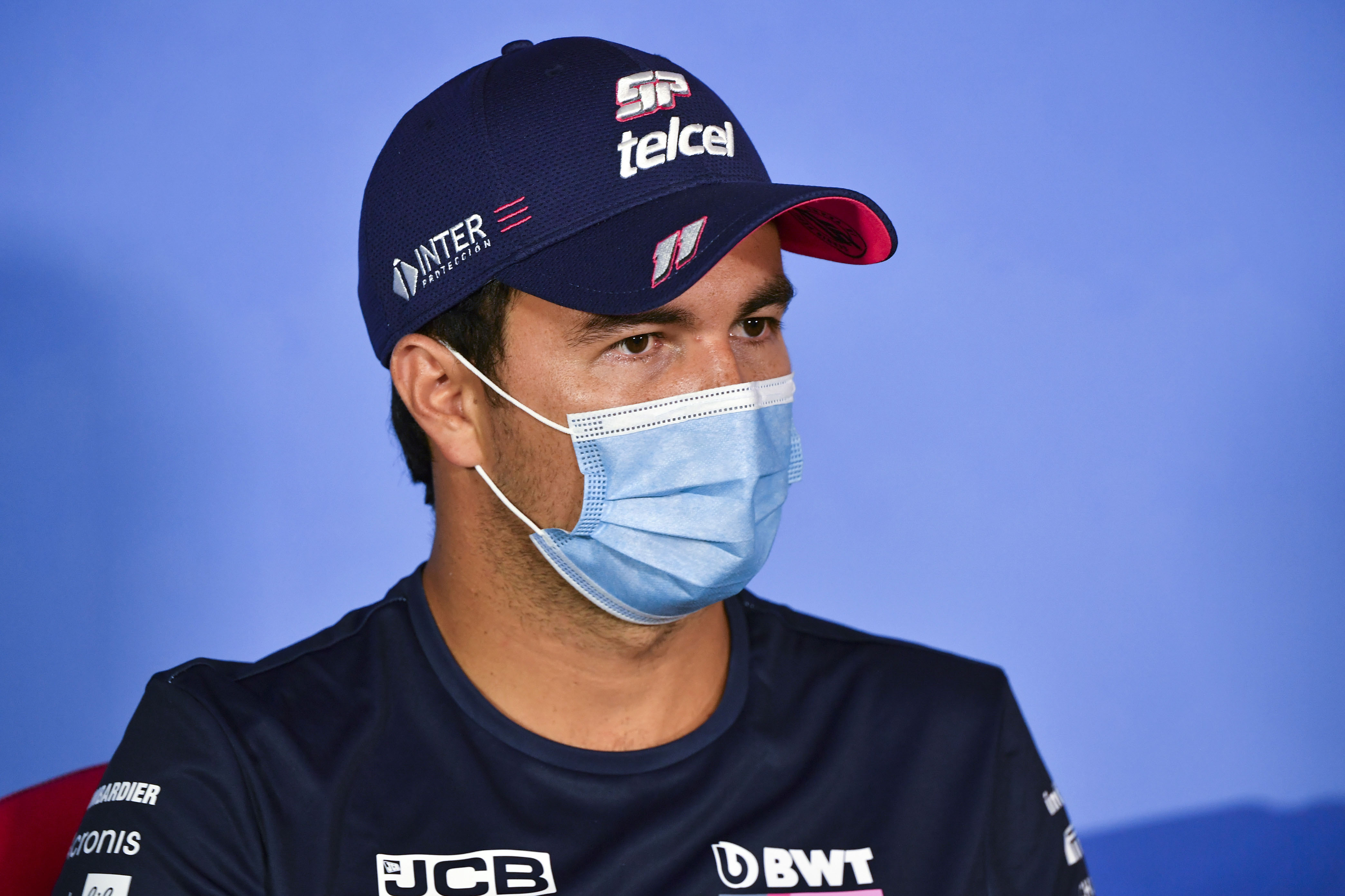 Formula One driver Sergio Pérez talks at a press conference on July 2 in Spielberg, Austria.