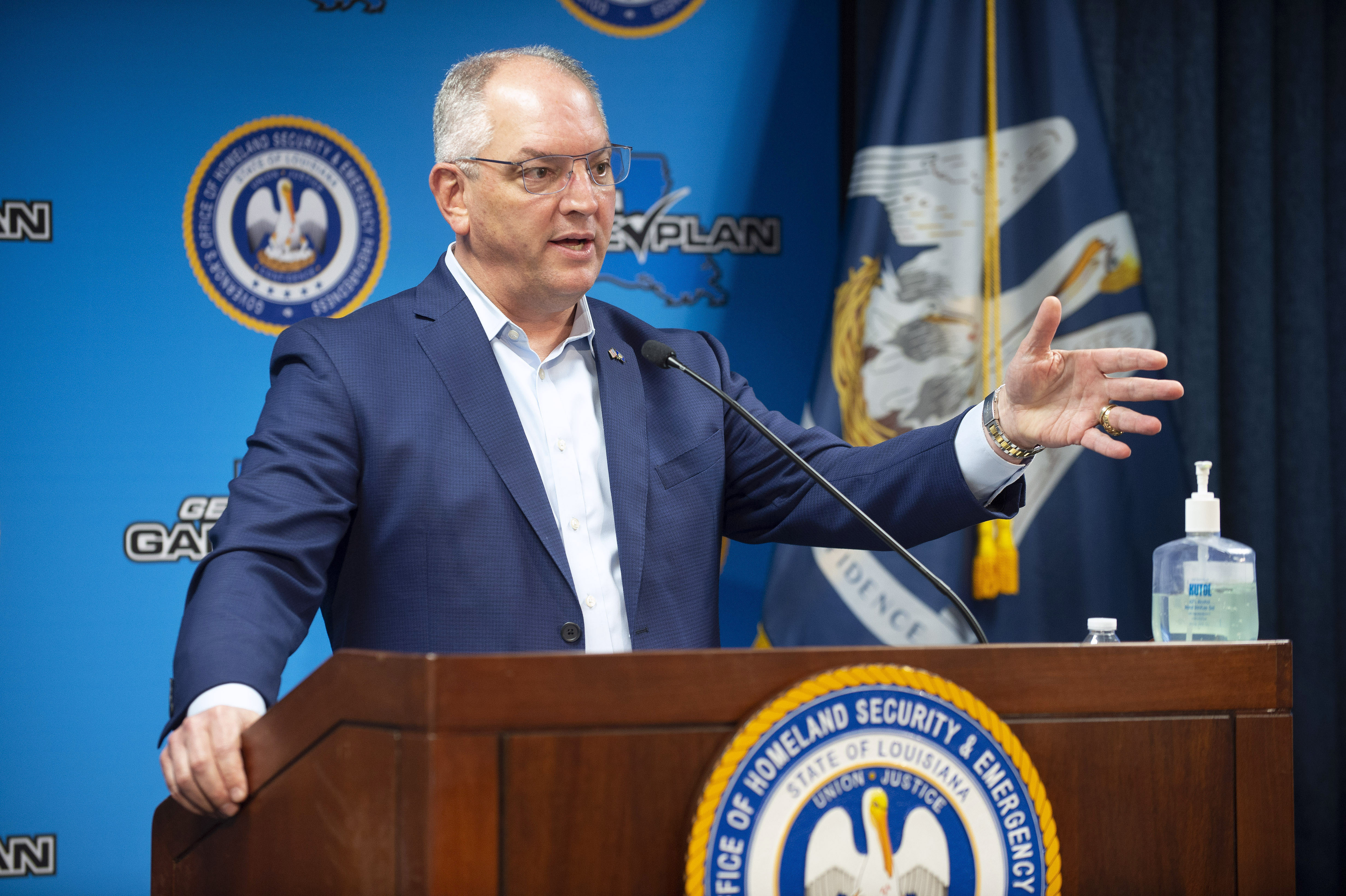 Louisiana Gov. John Bel Edwards speaks during a news conference in Baton Rouge, Louisiana, on June 8.