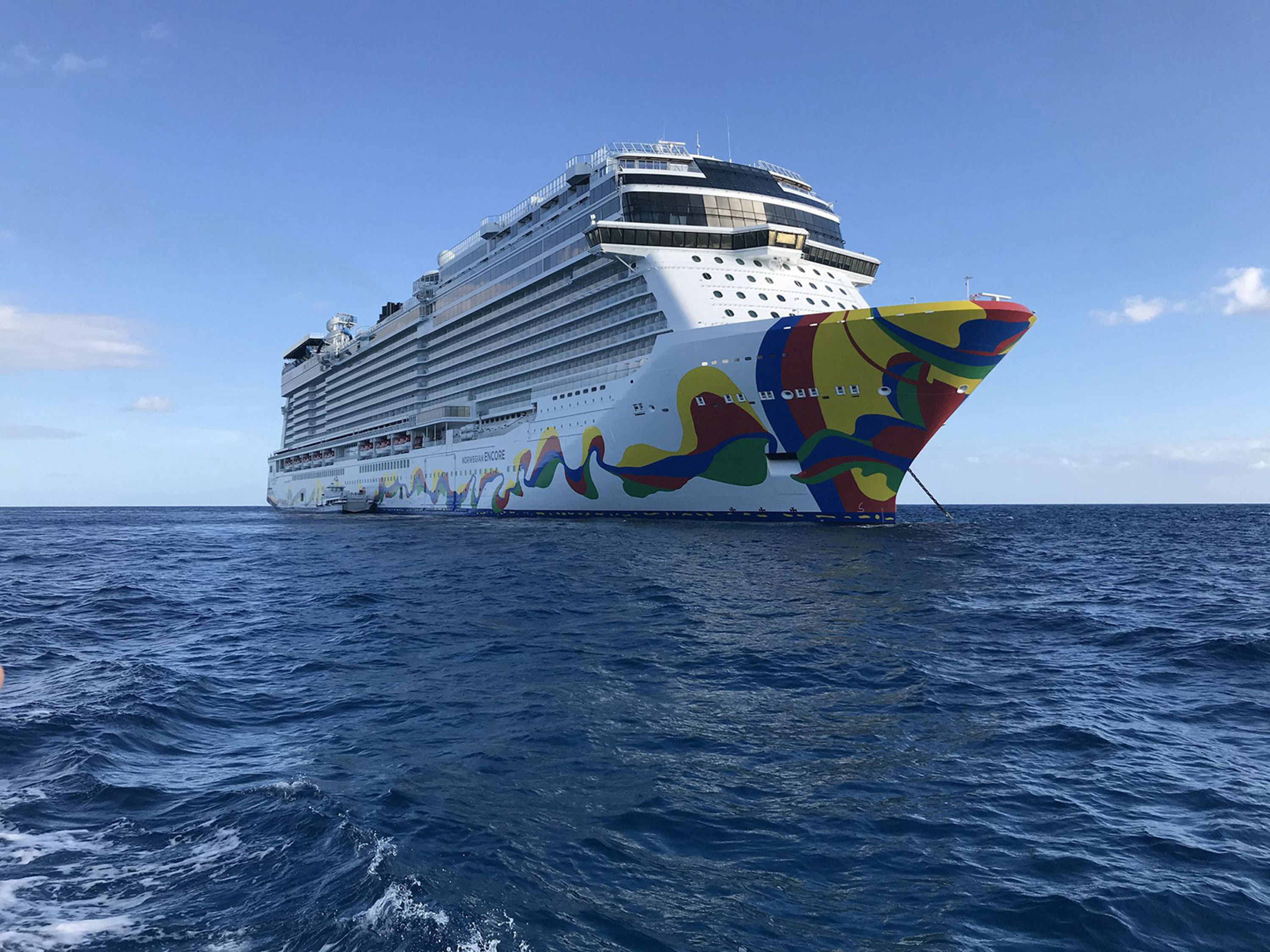The Norwegian Encore cruise ship is seen during its inaugural sailing in 2019 from PortMiami in Florida.