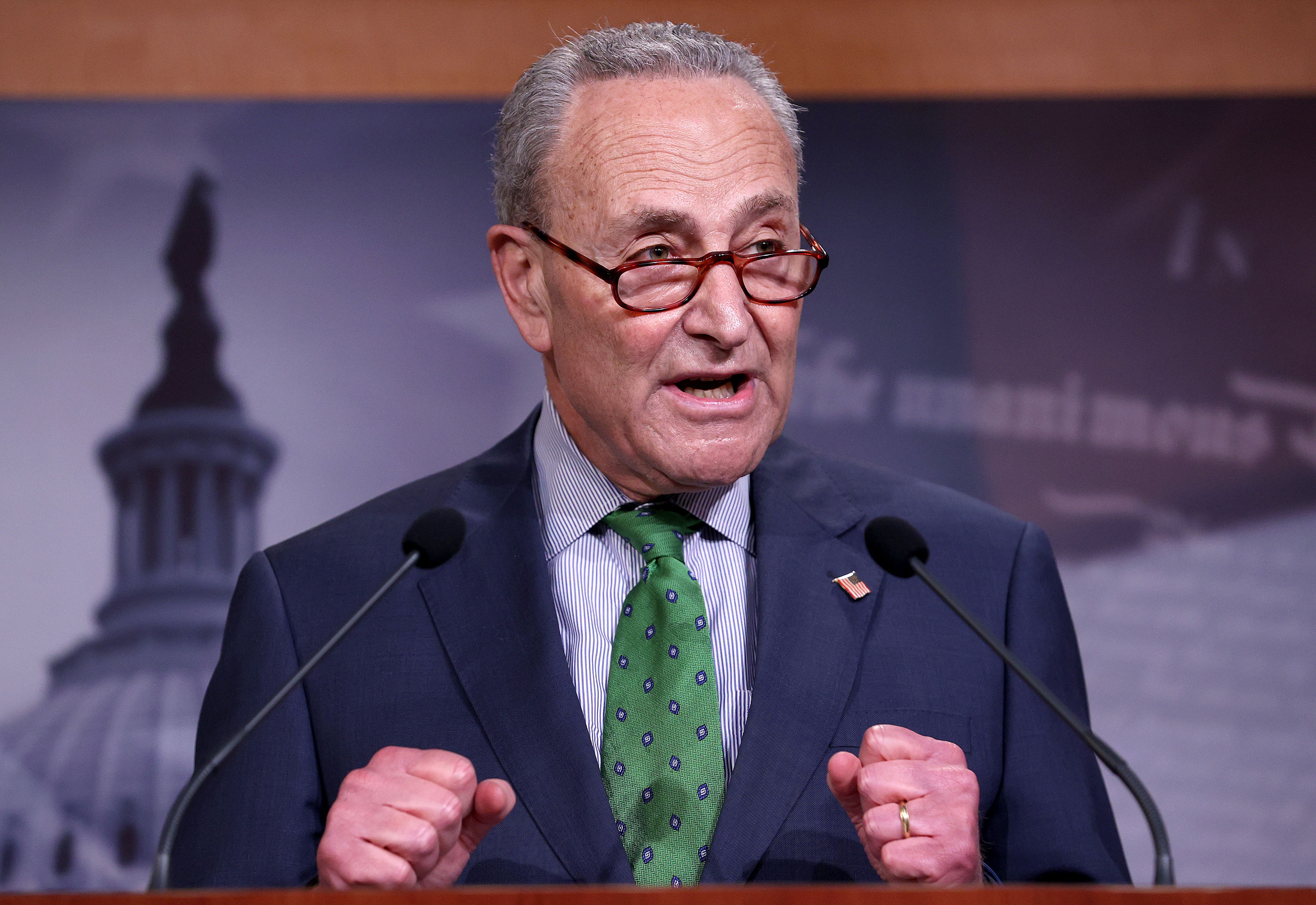 Sen. Chuck Schumer speaks at a press conference on June 9.