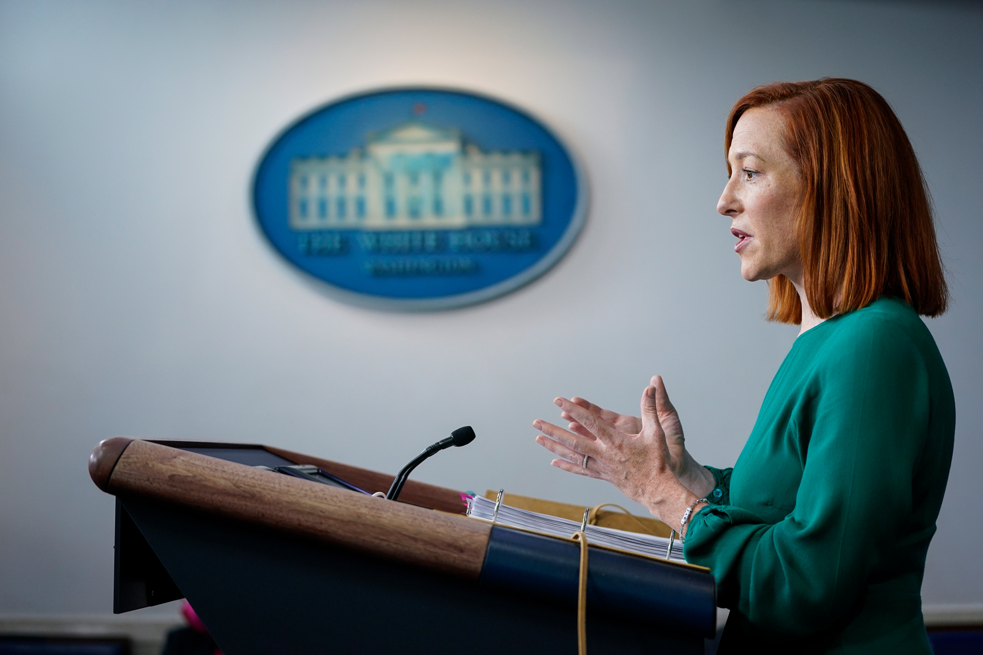 White House Press Secretary Jen Psaki speaks during a daily press briefing at the White House on January 25 in Washington, DC.