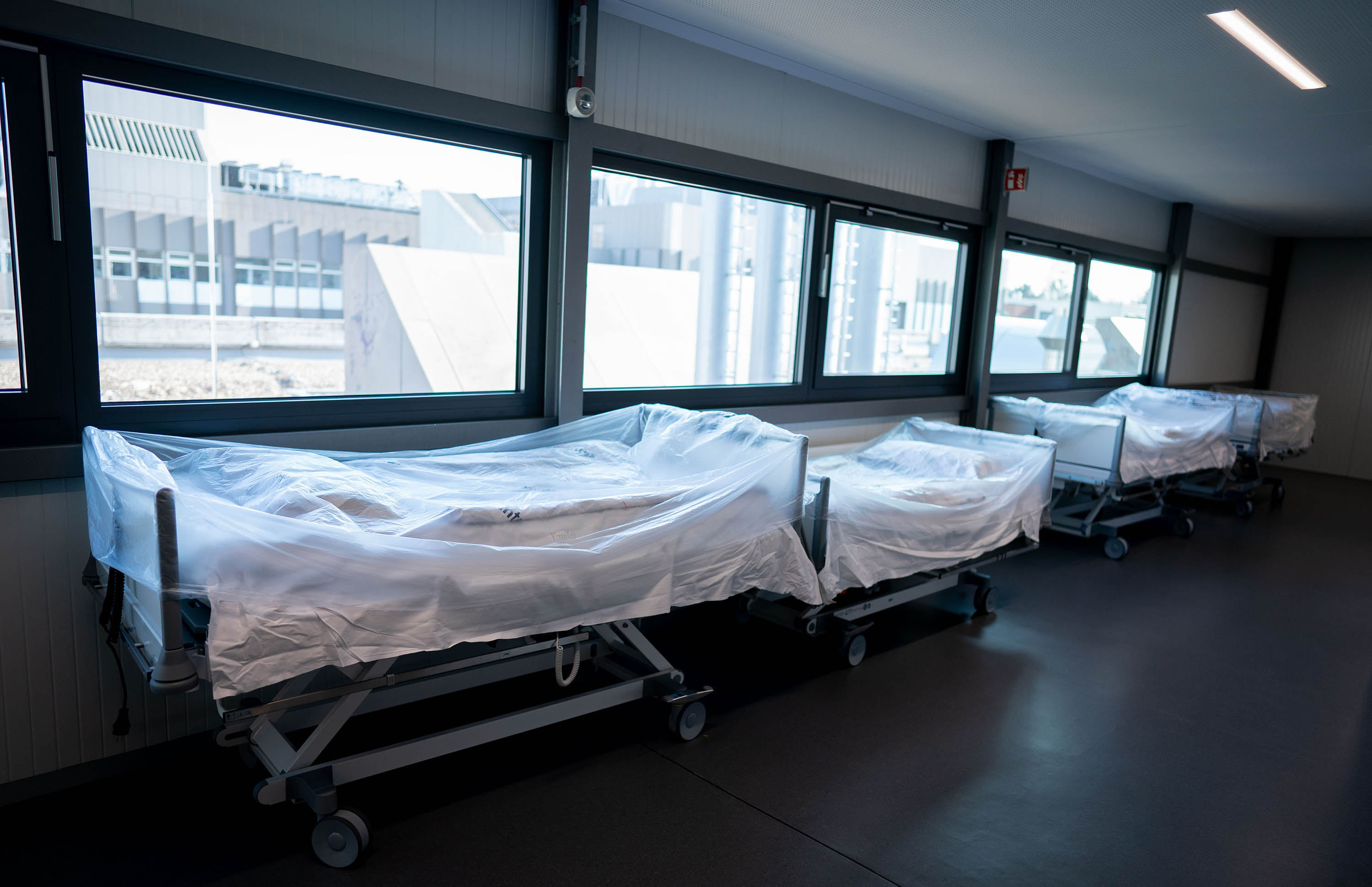 Hospital beds are pictured in a newly opened intensive care unit at the Vivantes Humboldt Clinic in Berlin, Germany, on March 26.