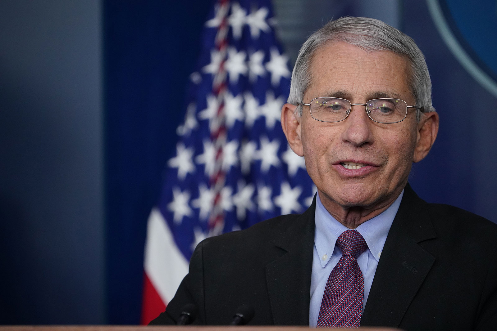 Dr. Anthony Fauci speaks during a coronavirus task force briefing at the White House in April.