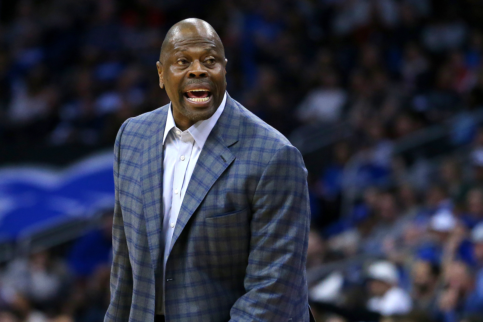 Head coach Patrick Ewing of the Georgetown Hoyas in action against the Seton Hall Pirates during a college basketball game at Prudential Center in Newark, New Jersey, on January 3.