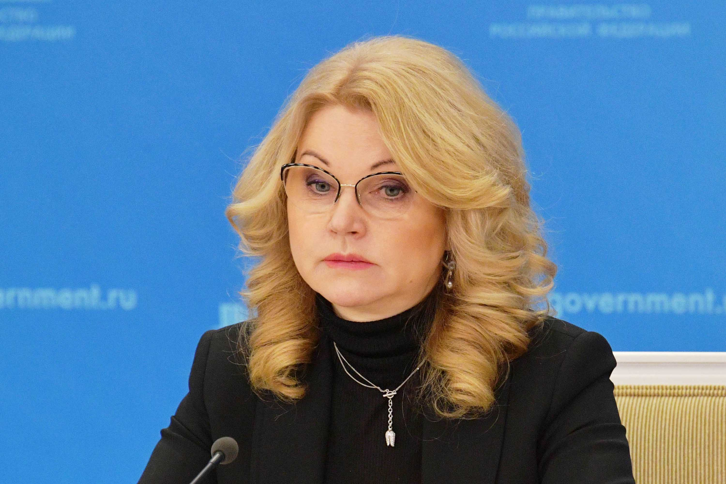 Russia's Deputy Prime Minister Tatyana Golikova gives a briefing in Moscow on December 28.