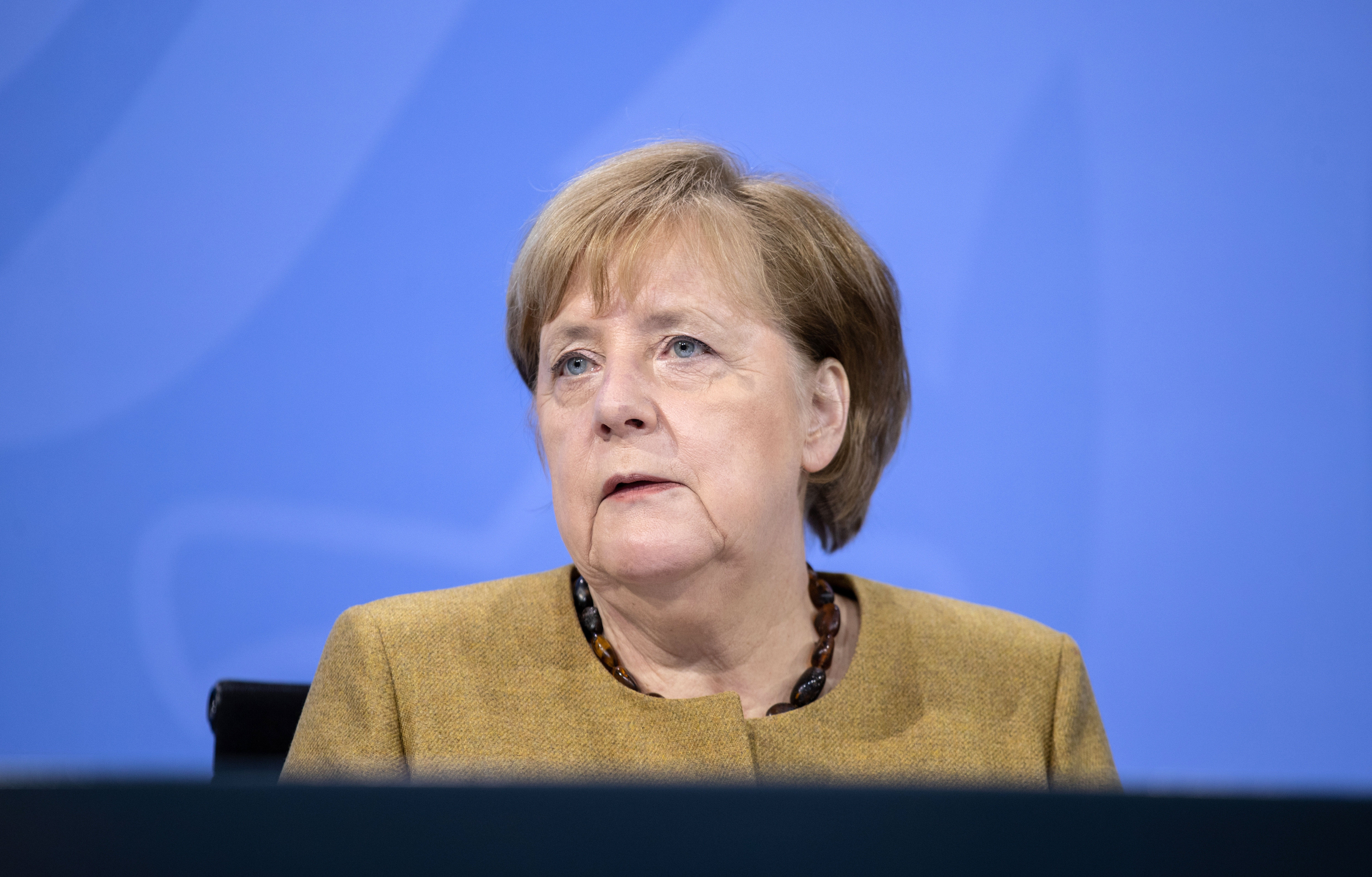 German Chancellor Angela Merkel holds a press briefing on January 5 in Berlin.