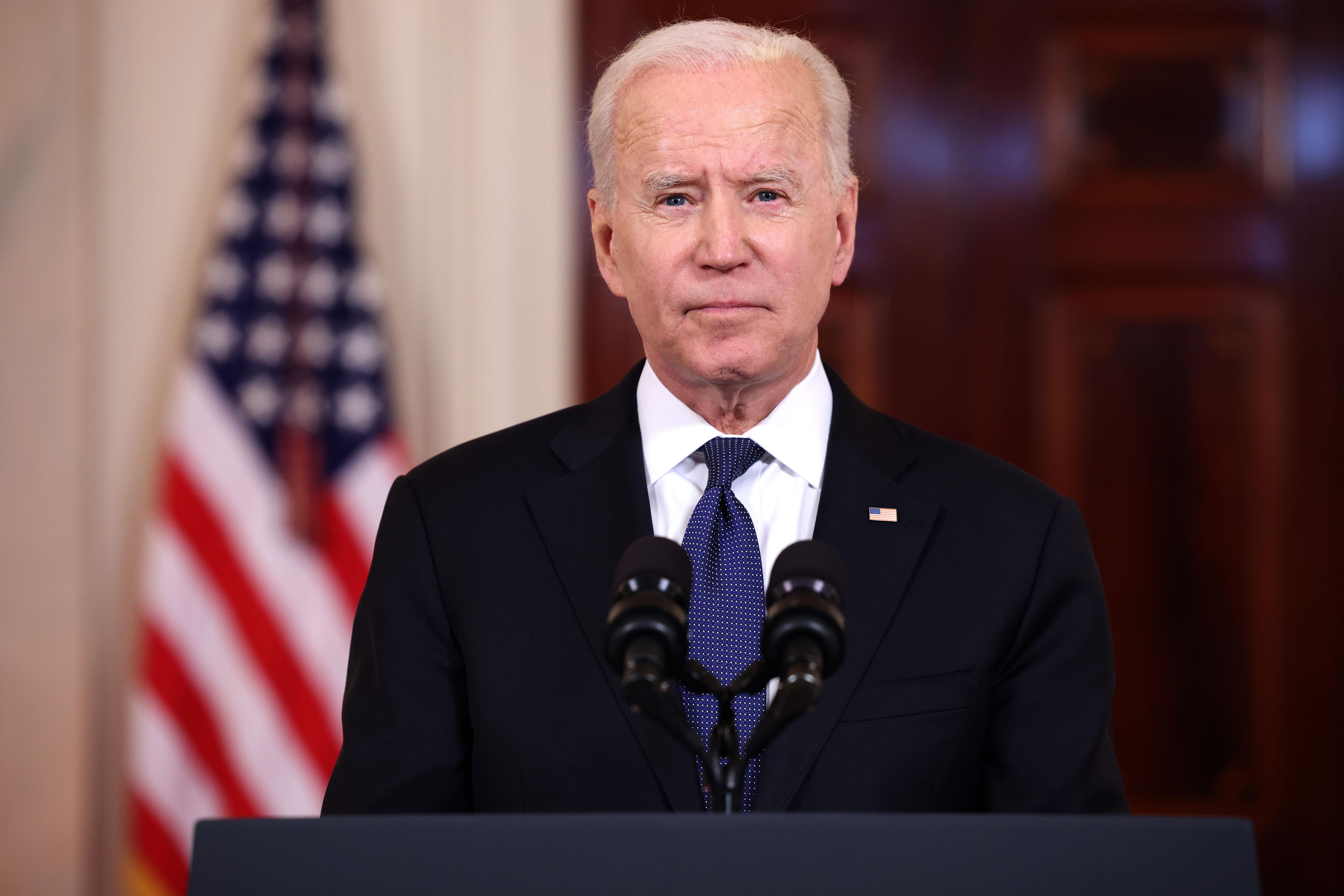 President Joe Biden speaks at the White House on May 20.