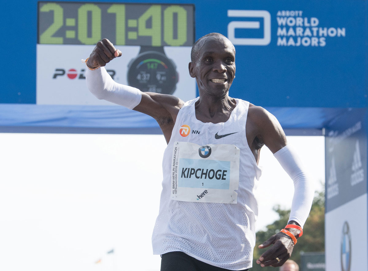 Eliud Kipchoge set a world record during the 45th BMW Berlin Marathon in Berlin, Germany on September 16, 2018.