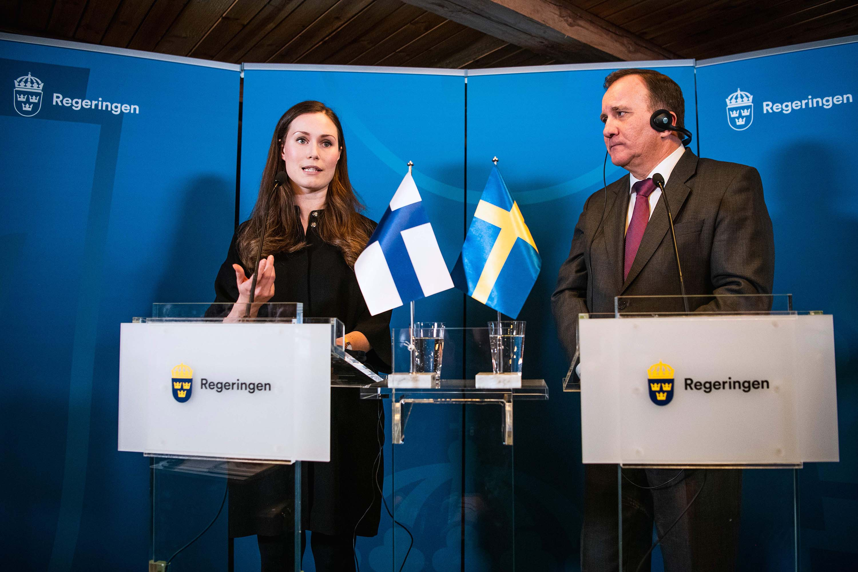 Finnish Prime Minister Sanna Marin and Swedish Prime minister Stefan Lofven give a press conference following a meeting in Stockholm, Sweden on January 8.