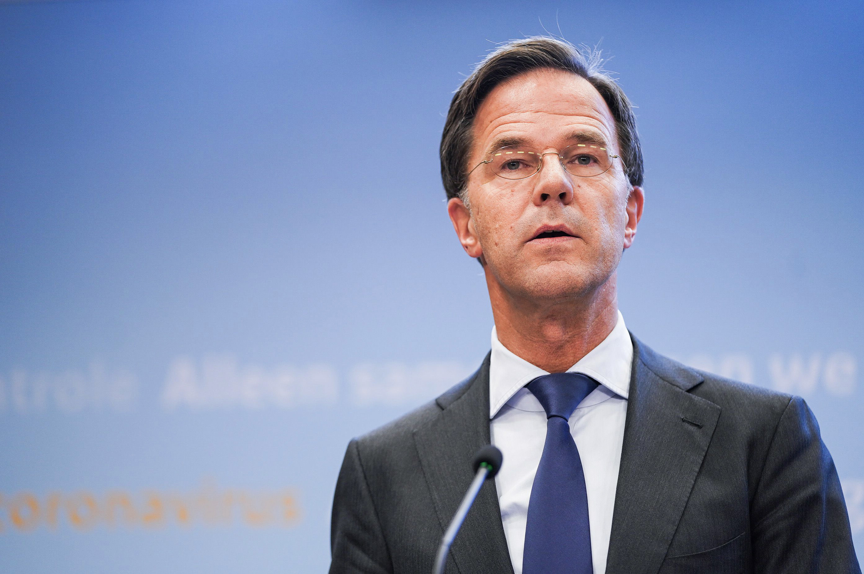 Dutch Prime Minister Mark Rutte speaks during a press conference in The Hague, Netherlands, on October 13.