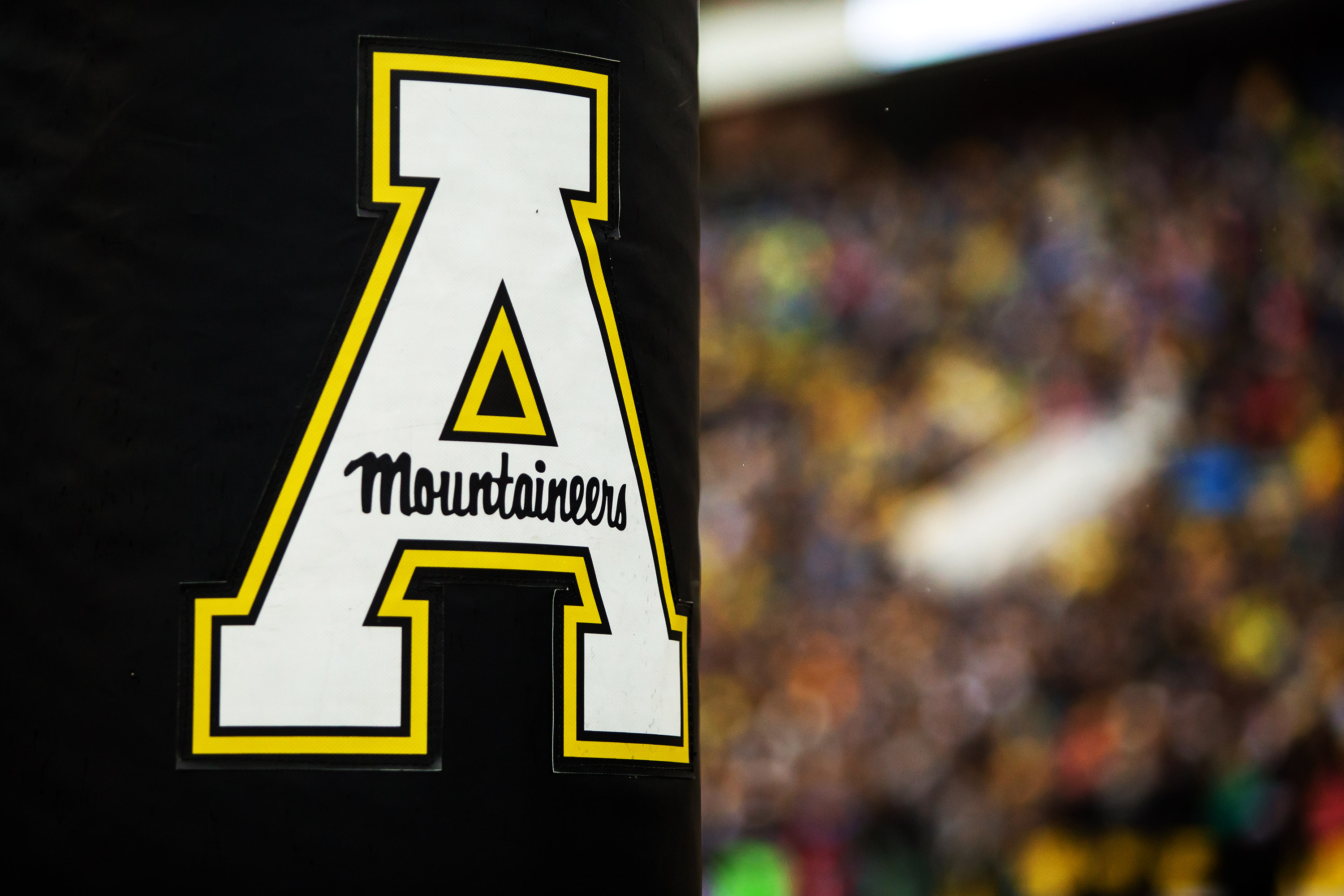 The Appalachian State University logo on the goalpost during a game on October 19, 2019.