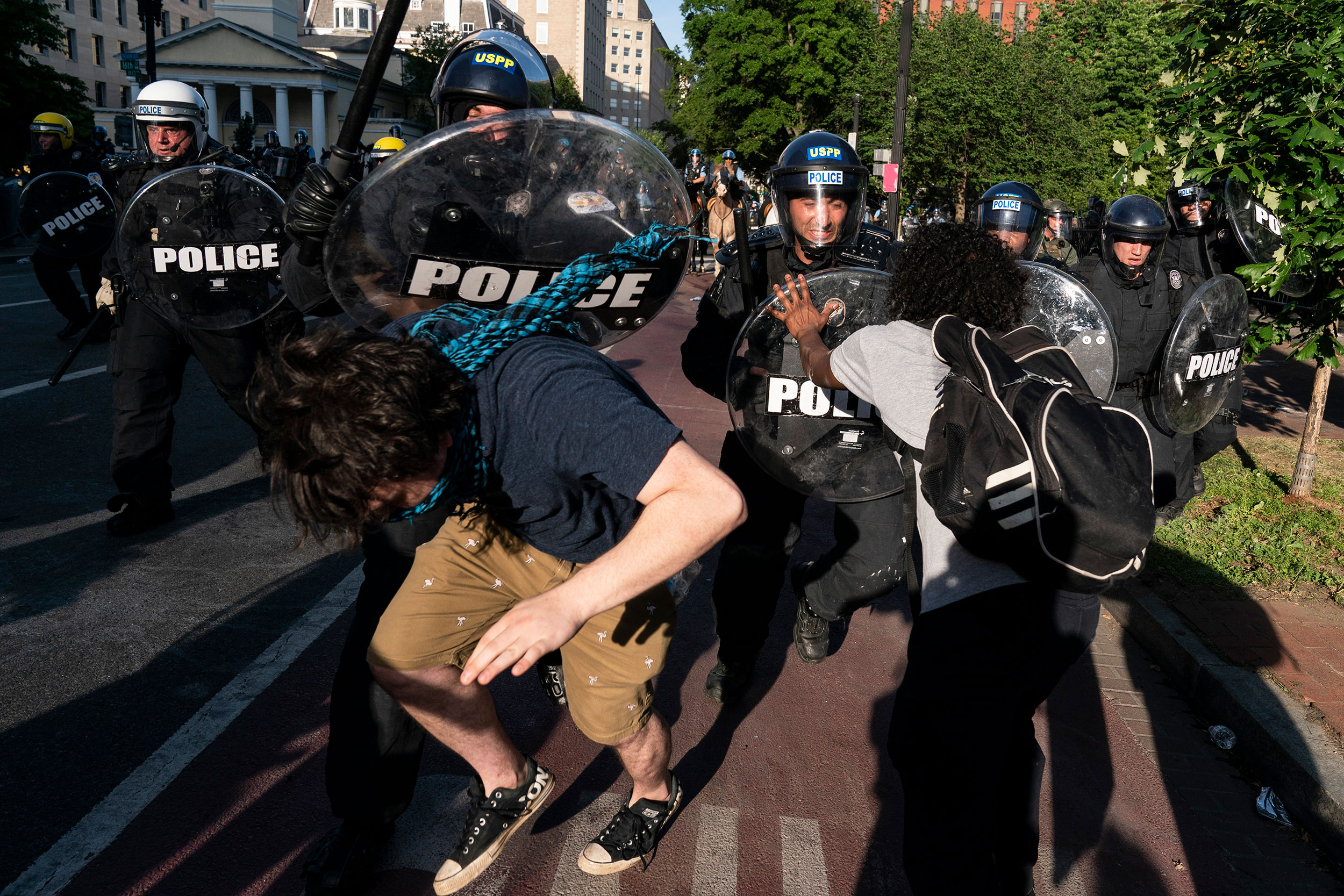 Police clash with protesters during a demonstration on June 1 in Washington.