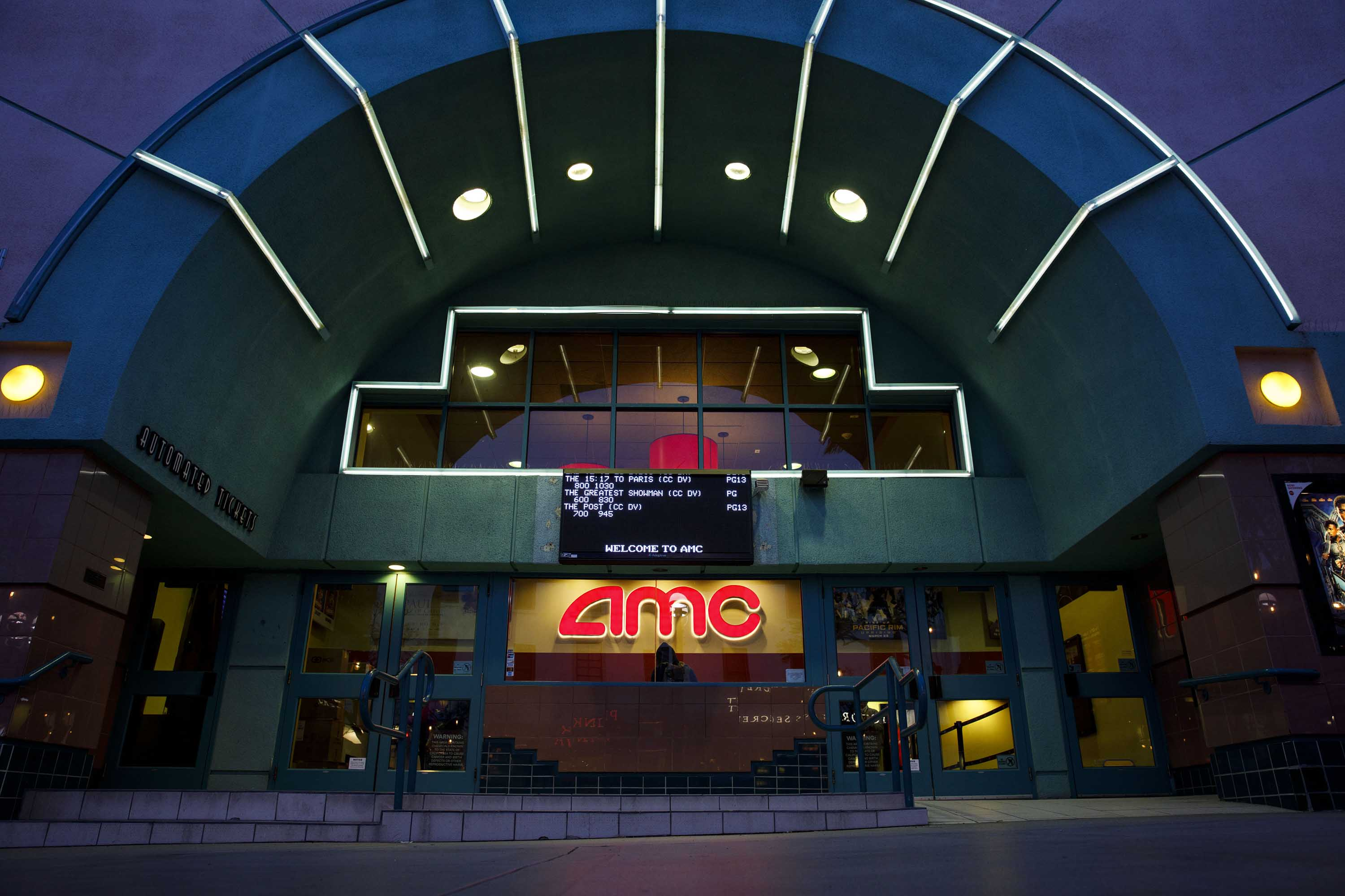 An AMC movie theatre is pictured in Santa Monica, California, in February 2018.