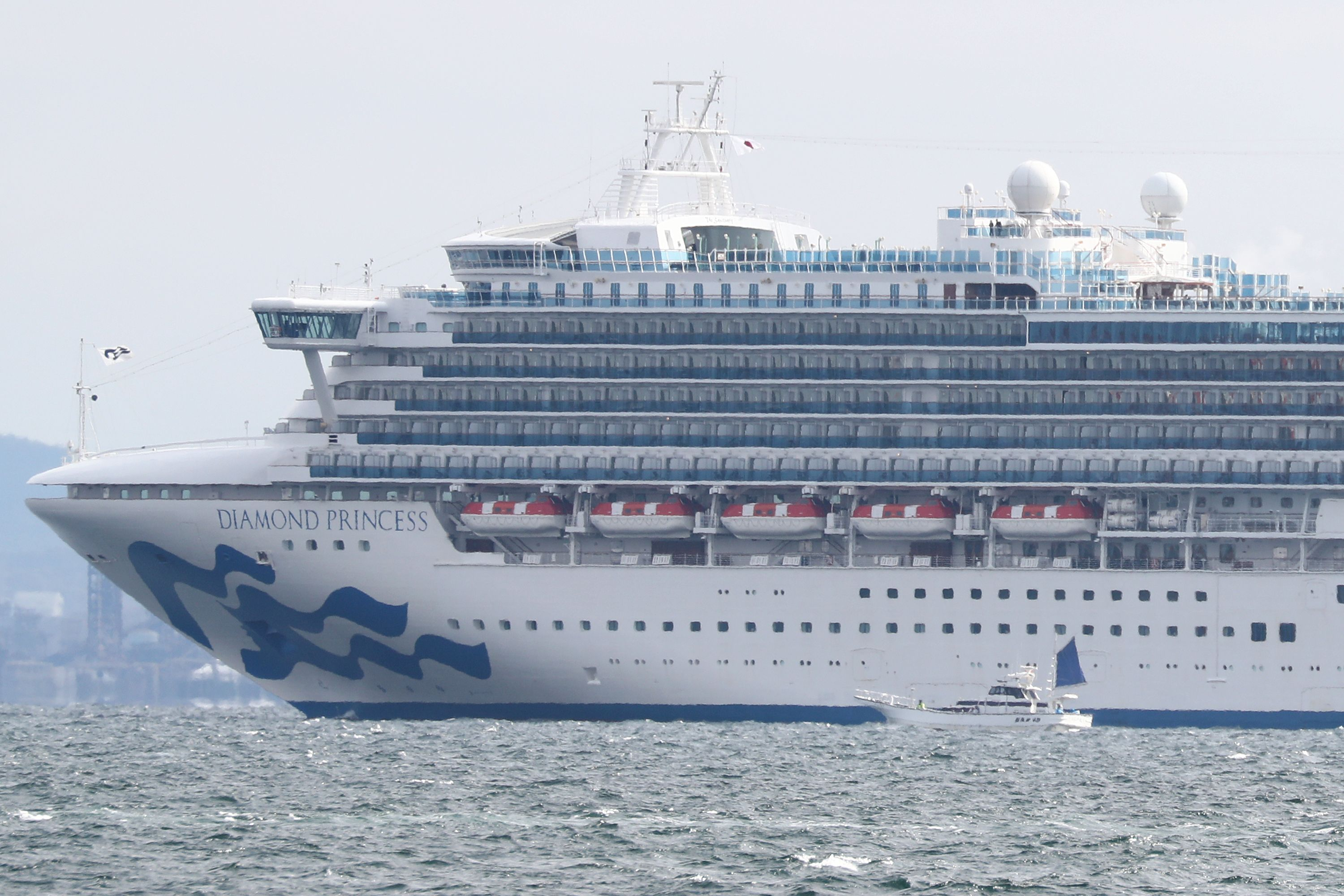 The Diamond Princess cruise ship, anchored in quarantine off the port of Yokohama on February 4, 2020.