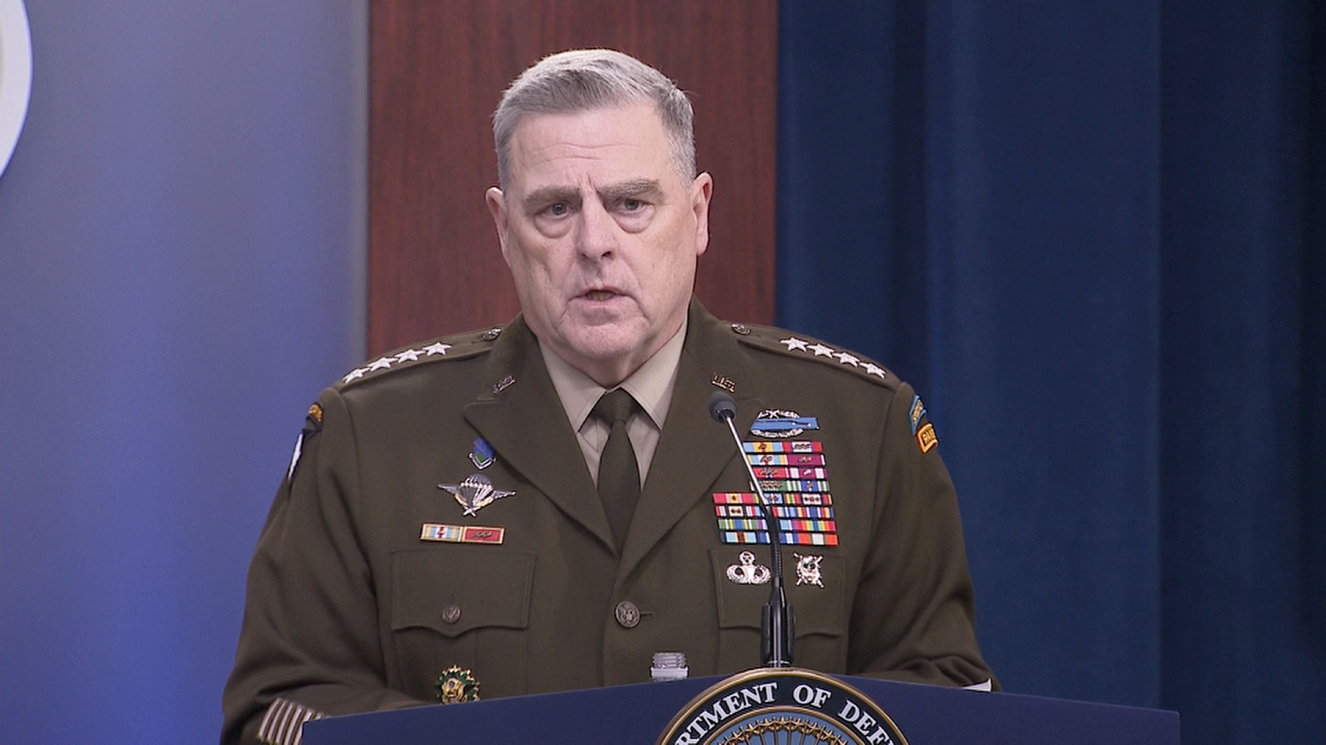 Joint Chiefs Chairman Gen. Mark Milley speaks during a press briefing at the Pentagon in Washington, on May 5.