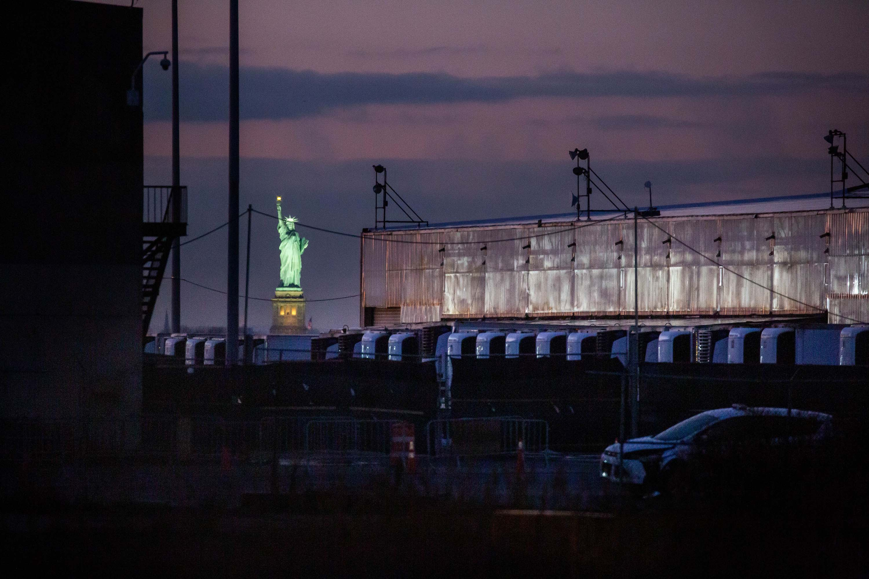 A Covid-19 disaster morgue made up of refrigerated trailers is pictured at the South Brooklyn Marine Terminal in New York, on December 14.