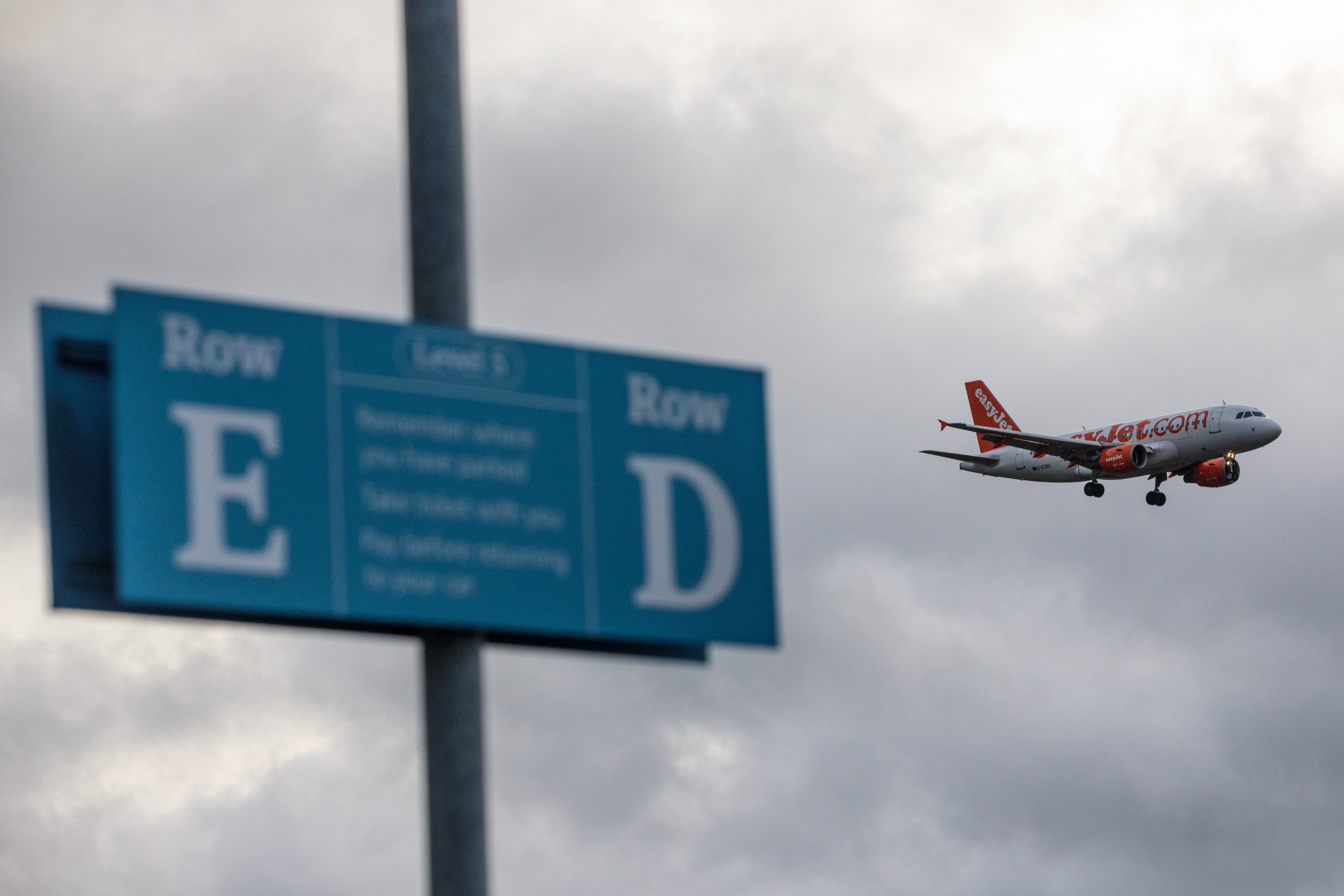 An aircraft comes in to land at Gatwick Airport in London, England.