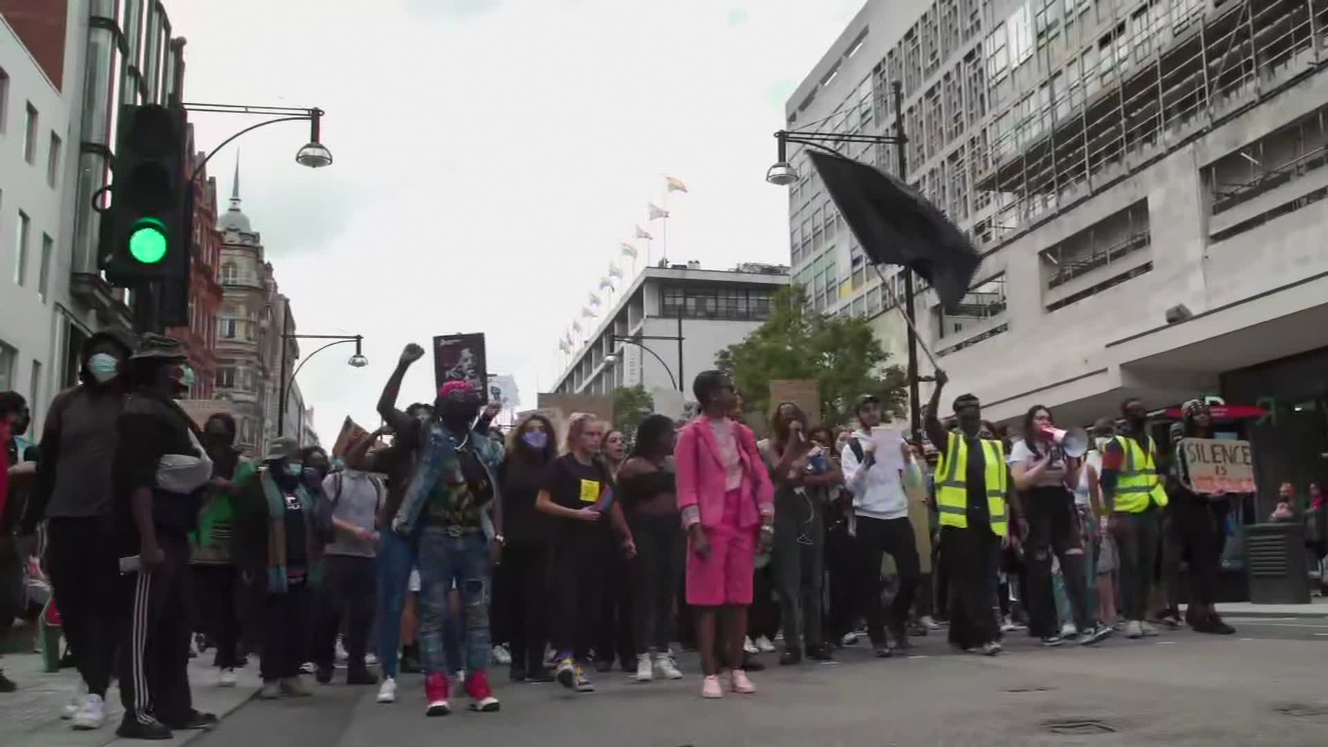 Protesters in London on June 21, 2020.