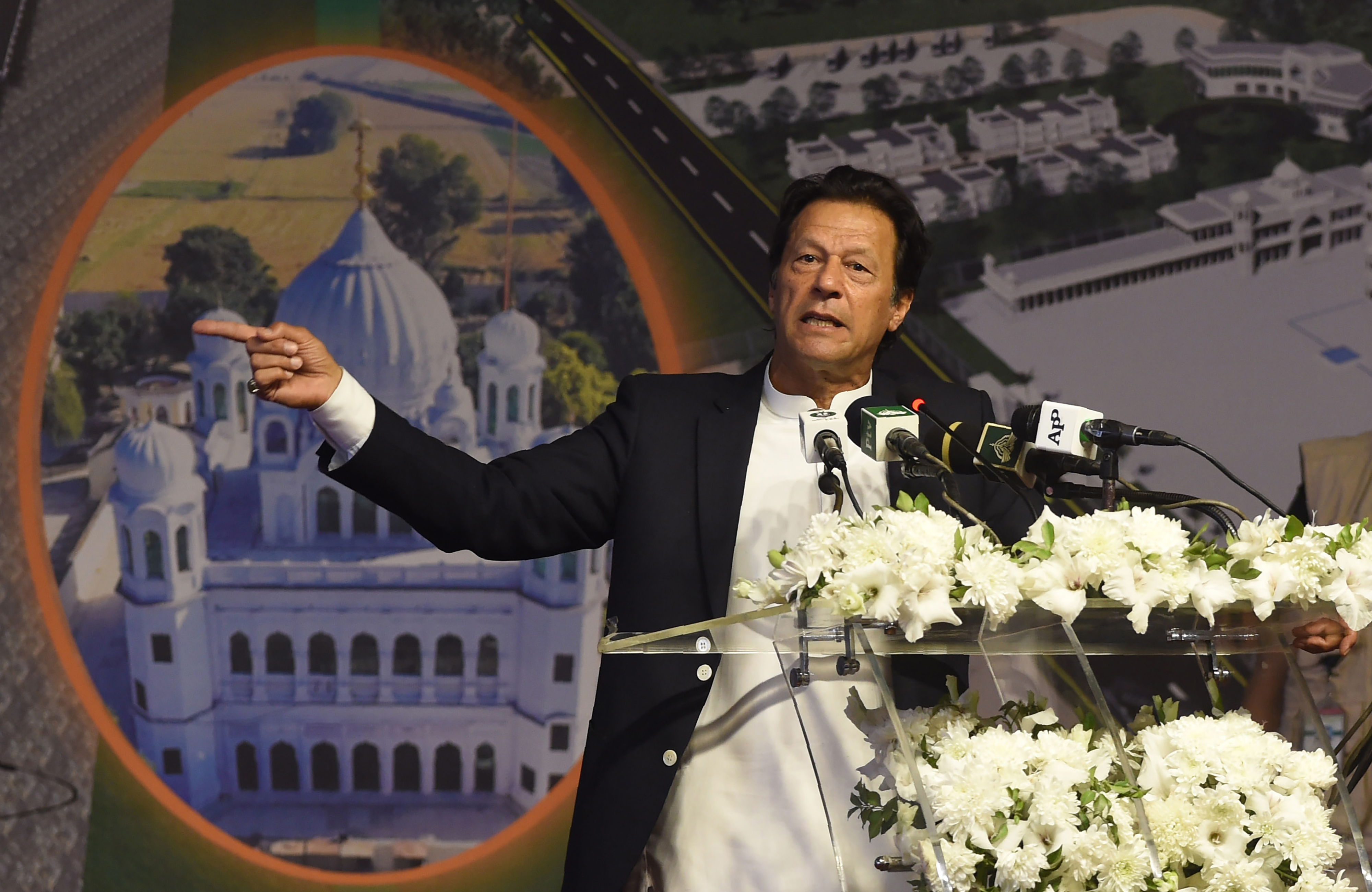 File photograph of Pakistan Prime Minister Imran Khan speaking at the groundbreaking ceremony for the Kartarpur Corridor, a religious corridor between India and Pakistan in November 2018.