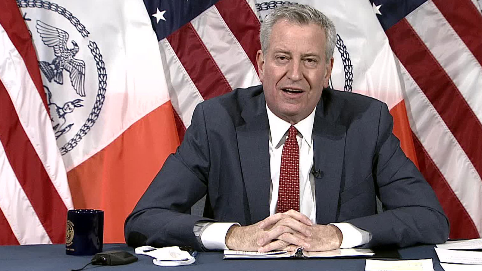 New York City Mayor Bill de Blasio speaks during a news conference on Tuesday, December 22.