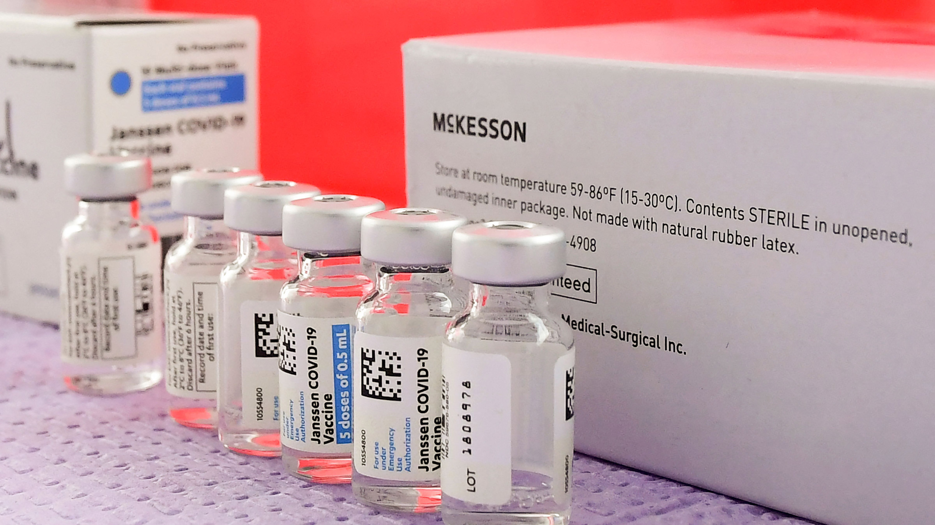 Bottles of the single-dose Johnson & Johnson Janssen Covid-19 vaccine sit on March 25 in Los Angeles.