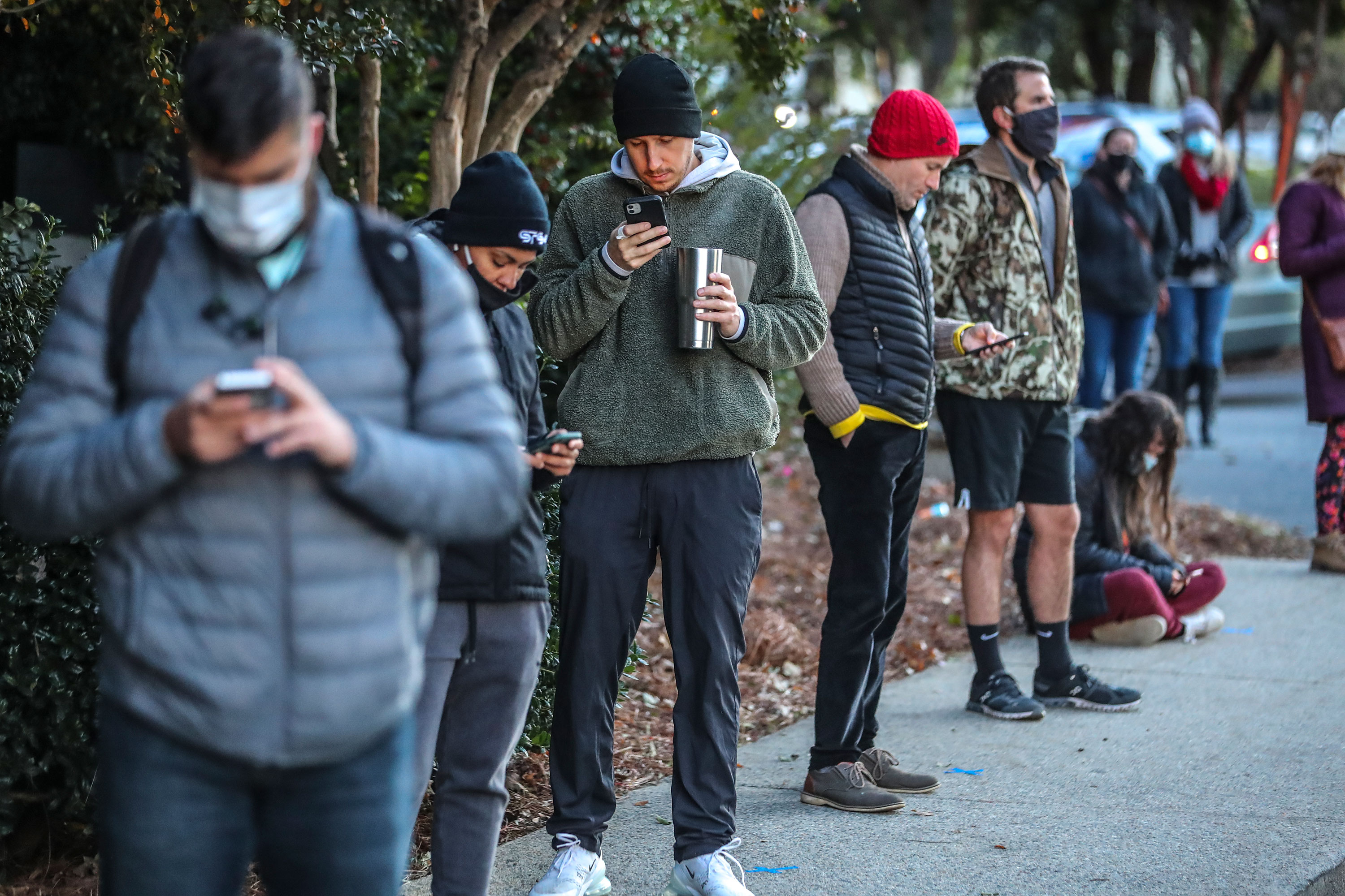 Voters wait on line to cast their votes in Atlanta on November 3.