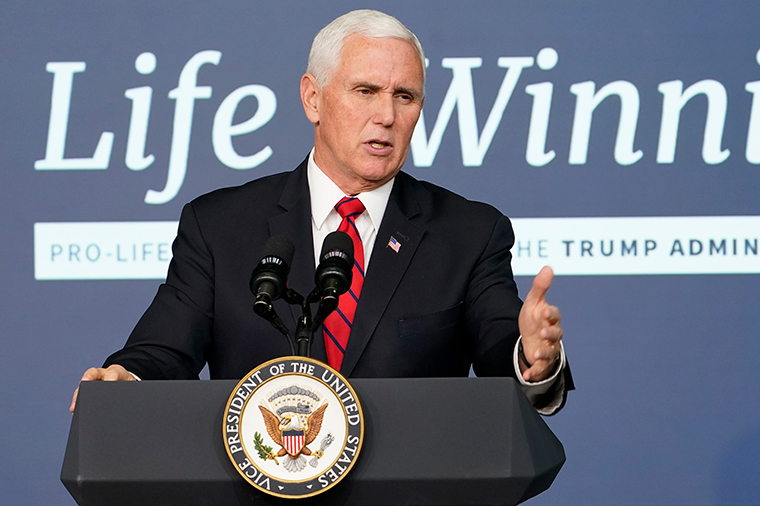 Vice President Mike Pence speaks during an event in the South Court Auditorium on the White House complex in Washington, DC, Wednesday, December 16.