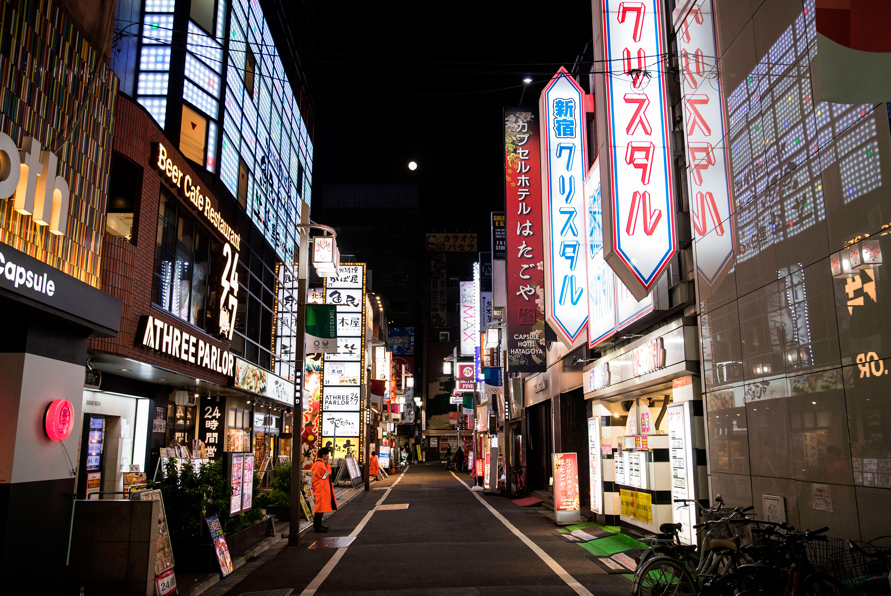 Empty streets are seen in Kabukicho, Tokyo's entertainment district, on April 7.