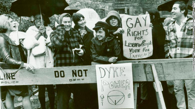 Sylvia Rivera, left, and Marsha P. Johnson, second from left, at a protest in New York City in 1973.