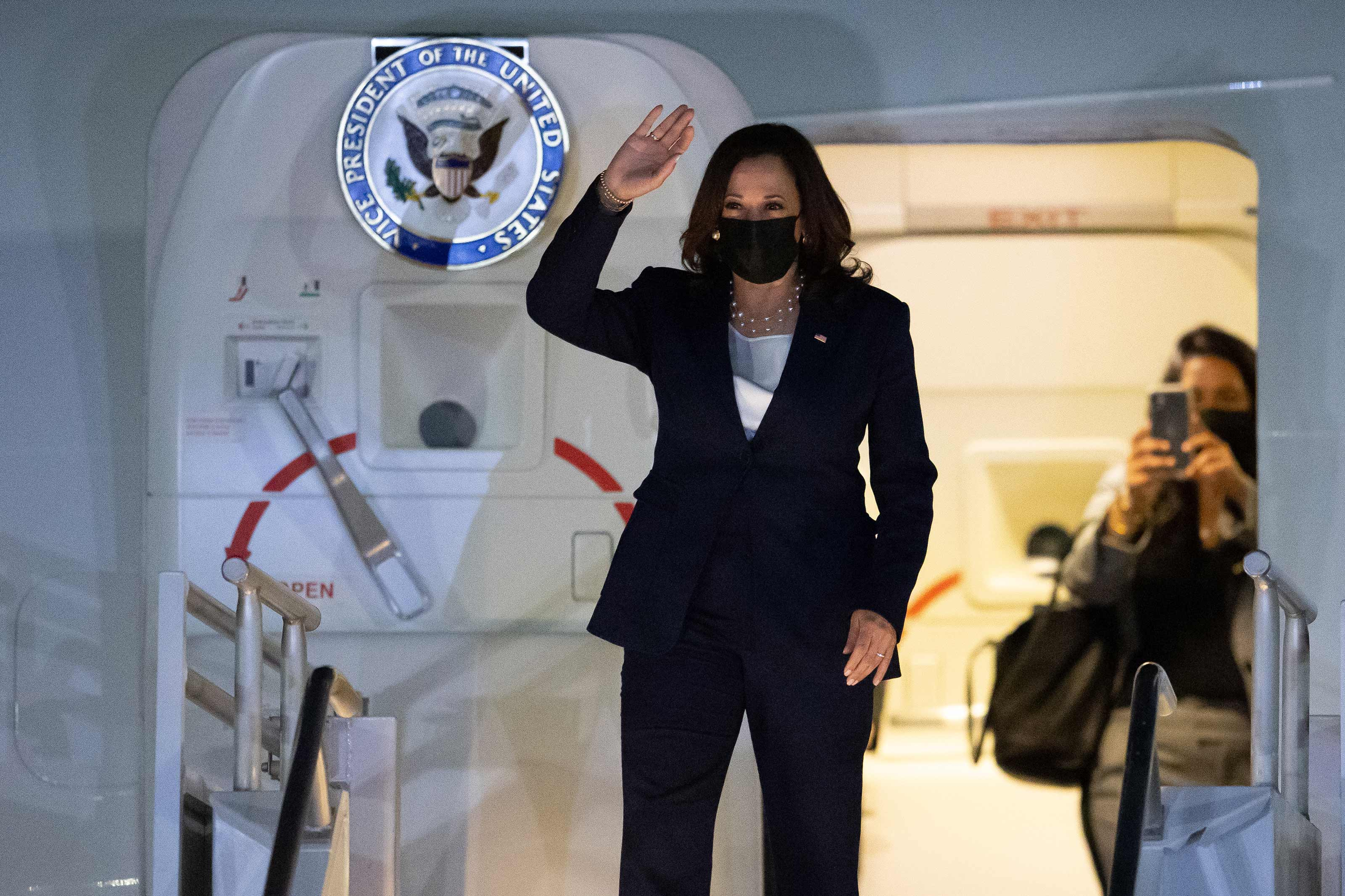 Vice President Kamala Harris arrives at Benito Juarez International Airport for her official visit to Mexico on June 7 in Mexico City.