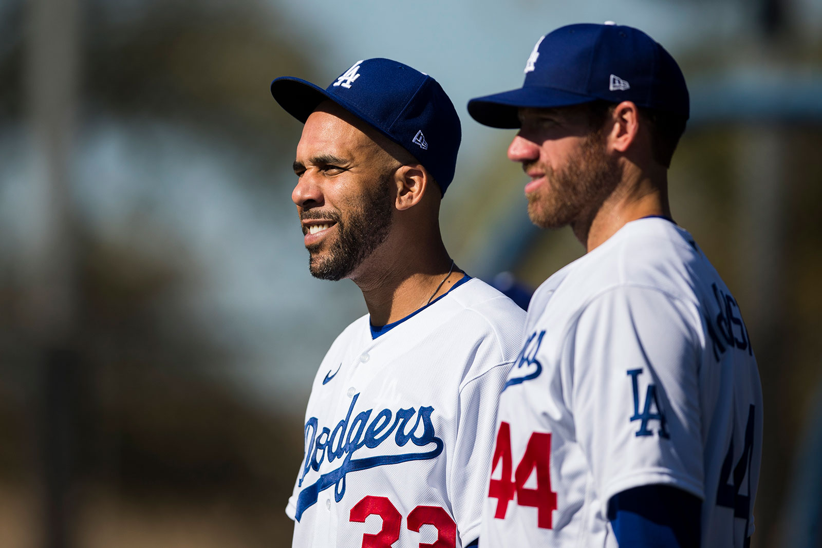 Dodgers pitcher David Price, left, looks on during a spring training workout in Glendale, Arizona, on February 20. Price announced on Twitter that he will not play in the 2020 MLB season.