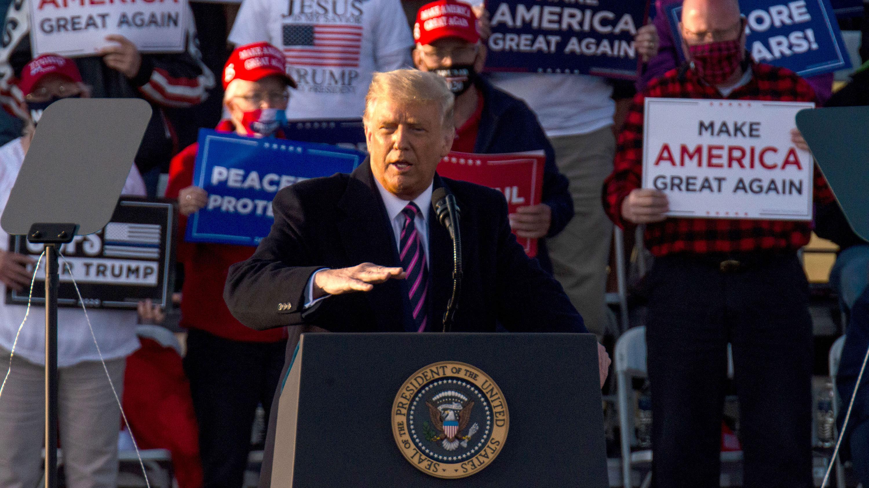 President Donald Trump speaks during a rally at the Bemidji Regional Airport on September 18 in Bemidji, Minnesota.