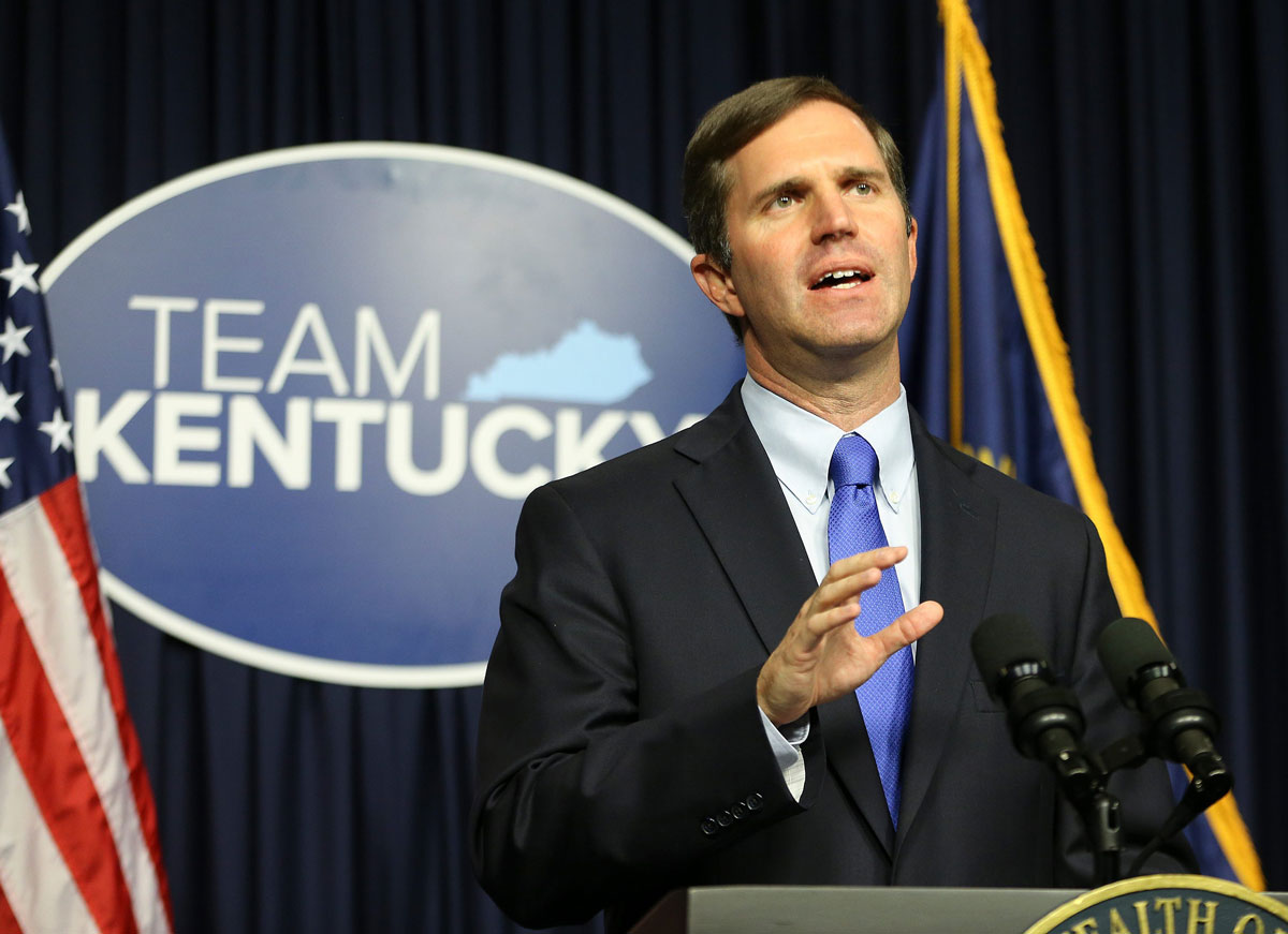 Kentucky Governor Andy Beshear delivers a speech in September about the state's response to Covid-19 at the Kentucky State Capitol.