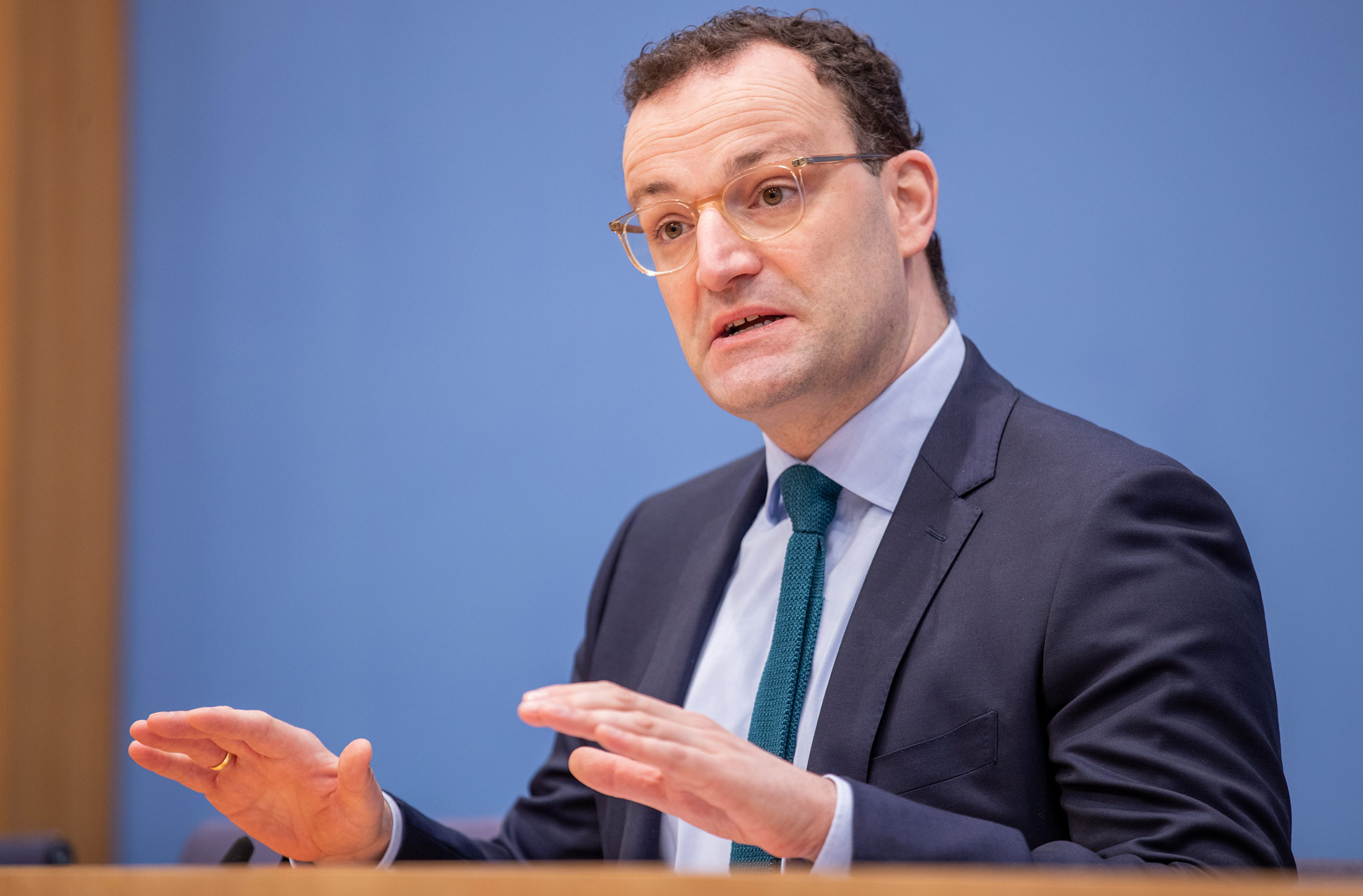 German Health Minister Jens Spahn speaks during a press conference on January 22, in Berlin, Germany.