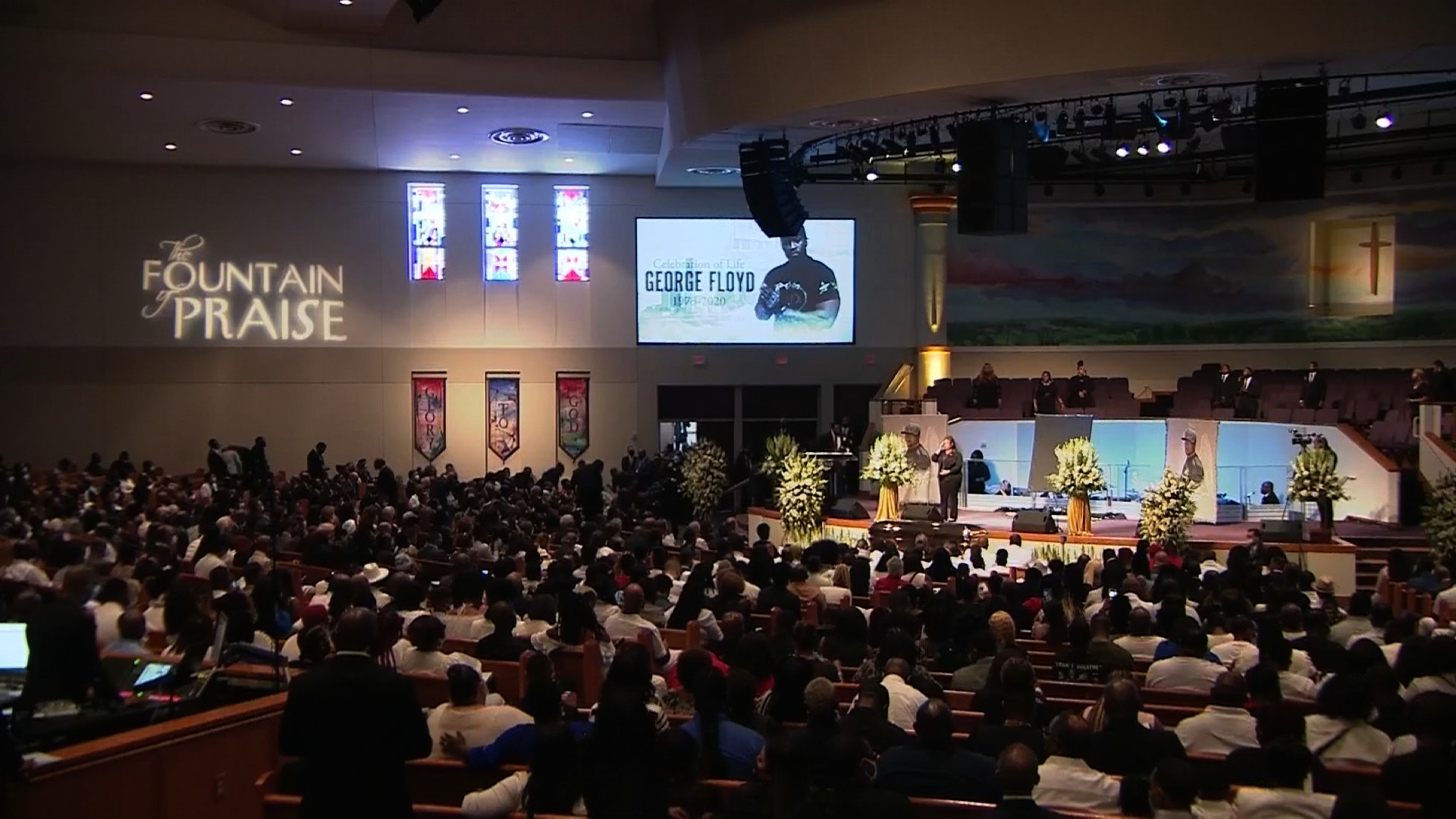 Mourners gather at a funeral for George Floyd in Houston at The Fountain of Praise Church on June 9.